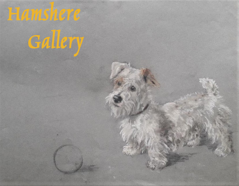Click to see full size: Pastel of a Sealyham Terrier seated by the ball by Marjorie Turner (English, early 20th Century)