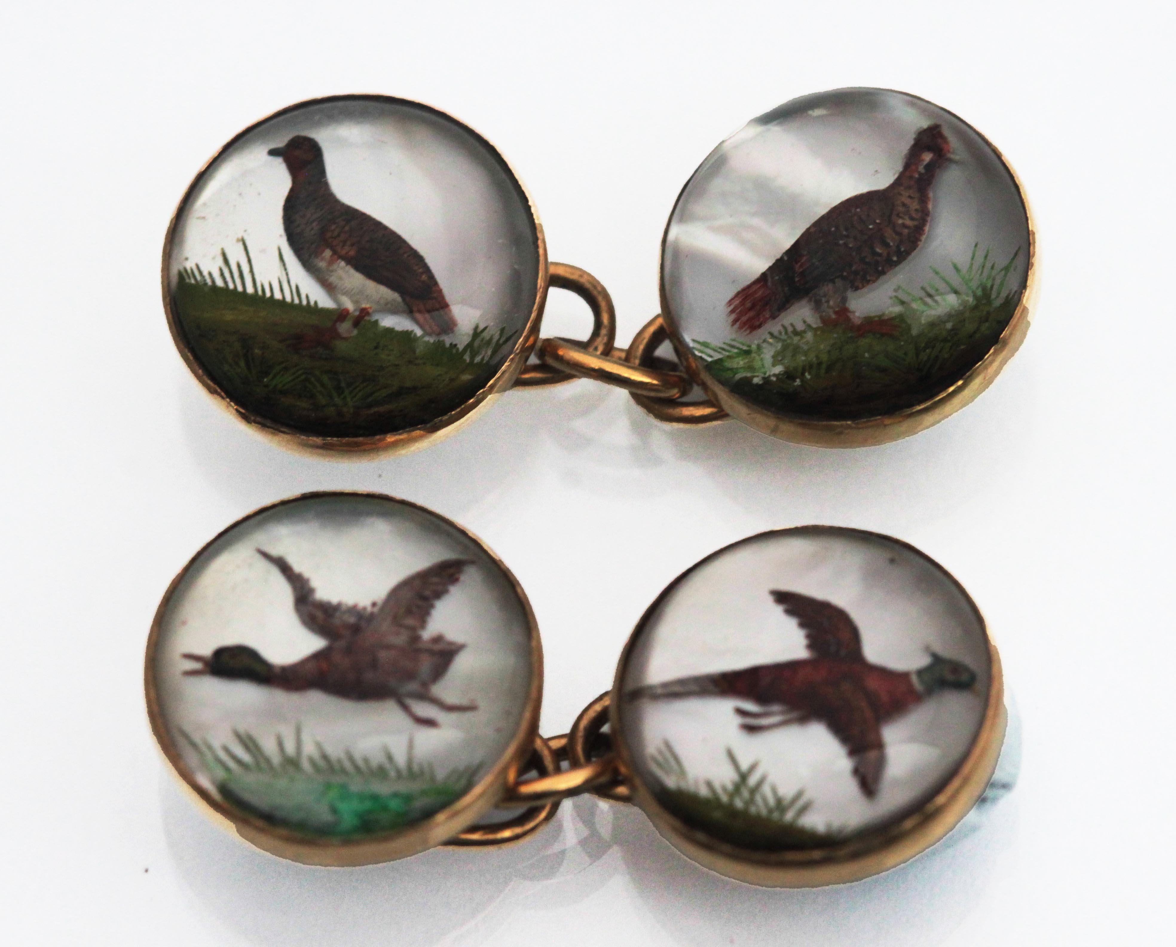 Click to see full size: 2134: Reverse Intaglios - Reverse intaglio crystal double sided game bird cufflinks