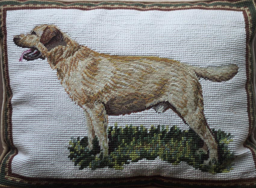 Click to see full size: 20th century needle point cushion of a Yellow Labrador standing in grass. English, circa 1990