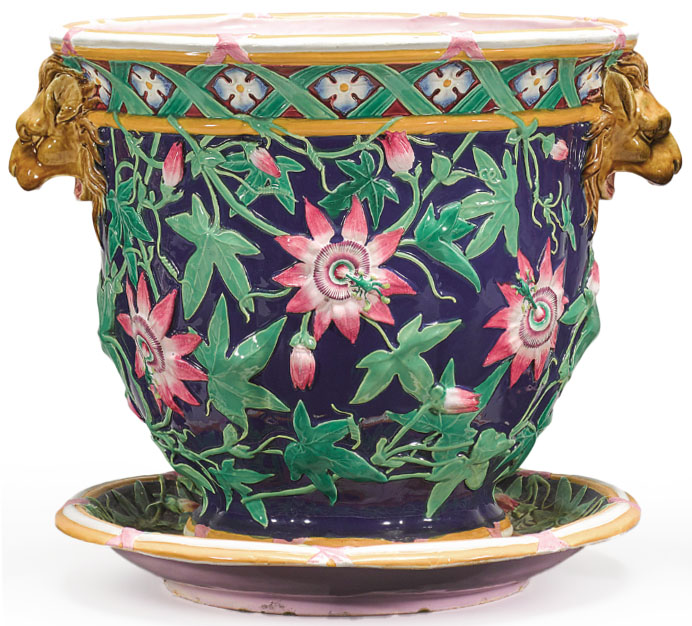Click to see full size: 19th century English, Minton Majolica lotus and lion jardiniere- 19th century English, Minton Majolica lotus and lion jardiniere