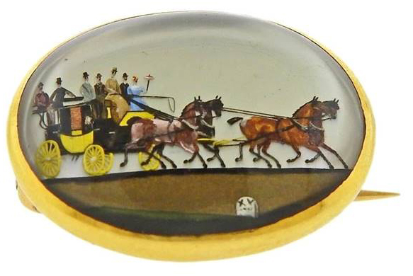 Click for larger image: 18 carat gold set Victorian oval reverse intaglio carriage / coaching / four-in-hand in the livery of Bugatti Yellow - 18 carat gold set Victorian oval reverse intaglio carriage / coaching / four-in-hand in the livery of Bugatti Yellow