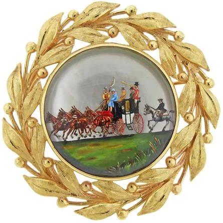 Click for larger image: Victorian reverse intaglio carriage / coaching / four-in-hand diamond and gold laurel leaf set crystal brooch - Victorian reverse intaglio carriage / coaching / four-in-hand diamond and gold laurel leaf set crystal brooch