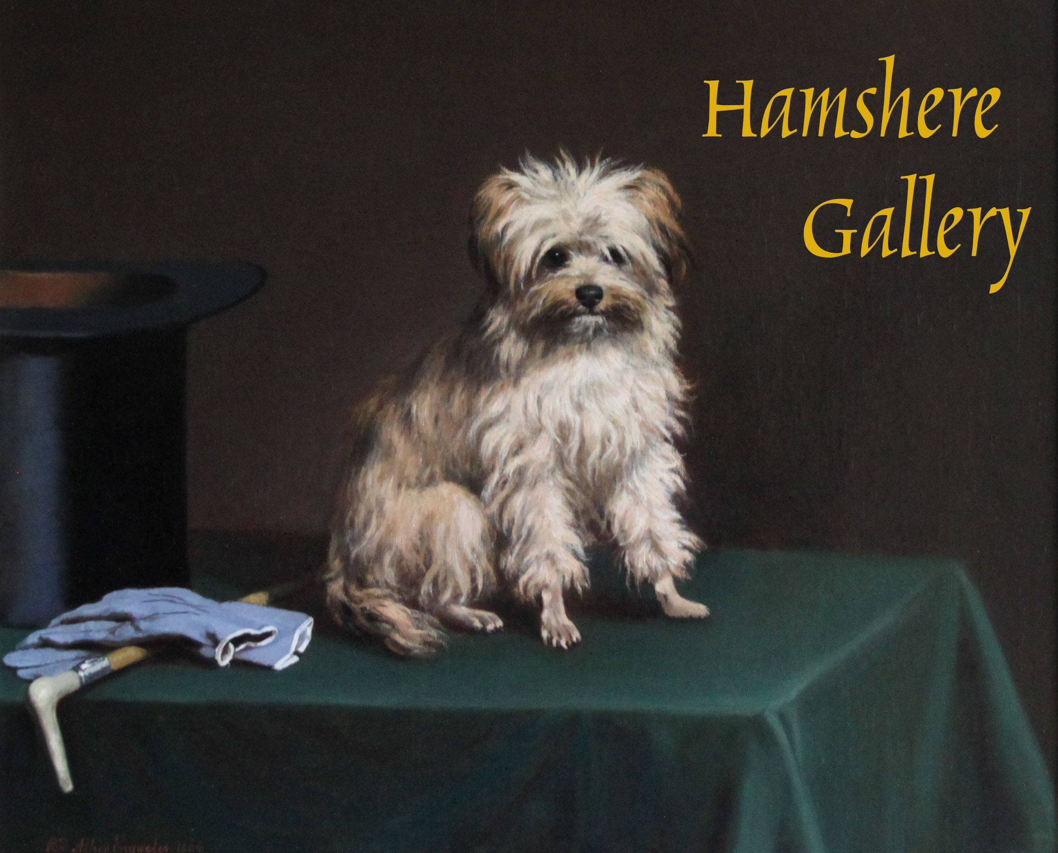 Click to see full size: A Norfolk Terrier type seated on a table by Charles van den Eycken (Belgian, 1859-1923)