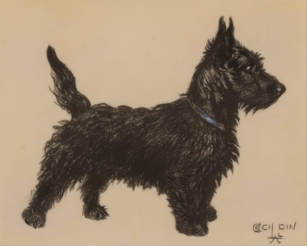 Click to see full size: Scottish Terrier, signed Cecil Aldin, circa 1925