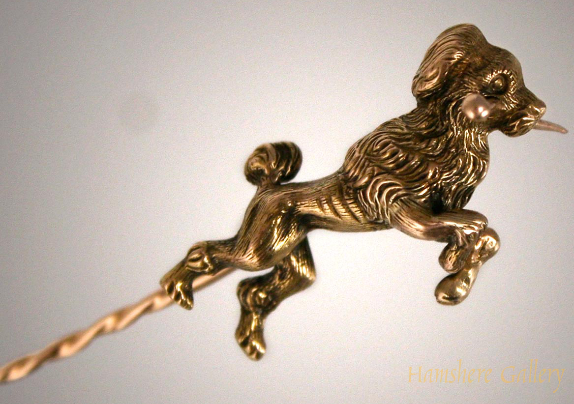 Click to see full size: Gold Poodle Stick Pin SOLD