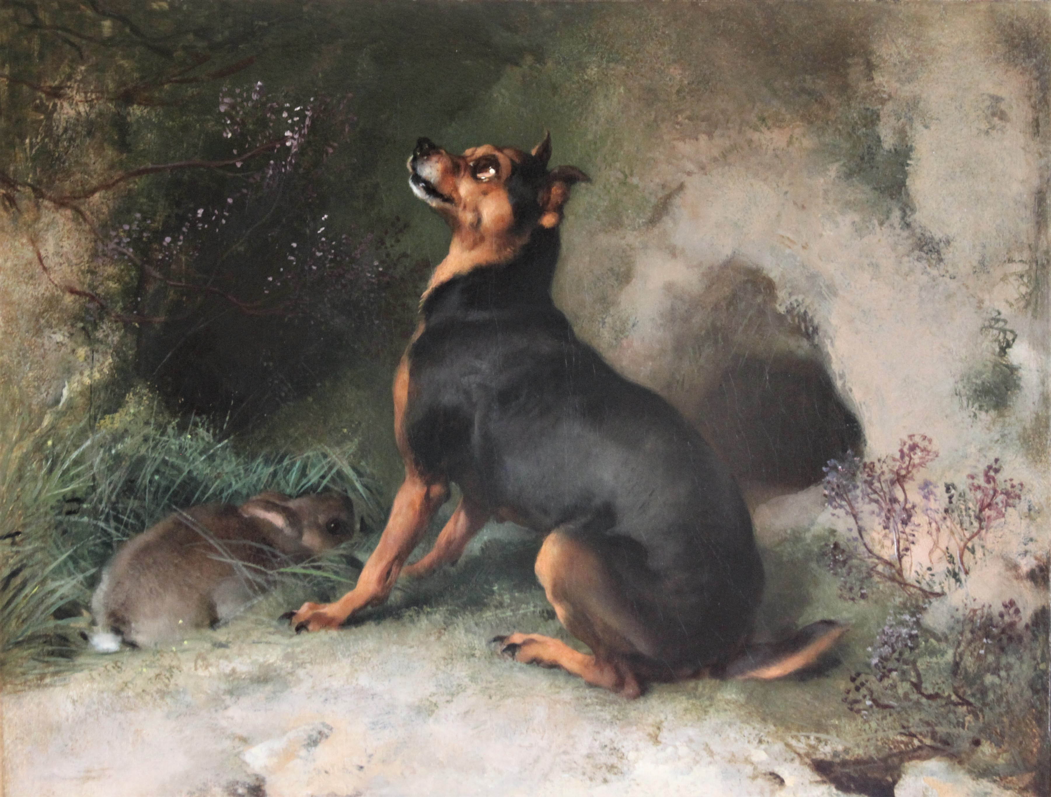 """Click to see full size: """"Anxious Moments"""", oil of a terrier seated by a cowering rabbit, by Sir Edwin Henry Landseer R.A. (1802-1873)"""
