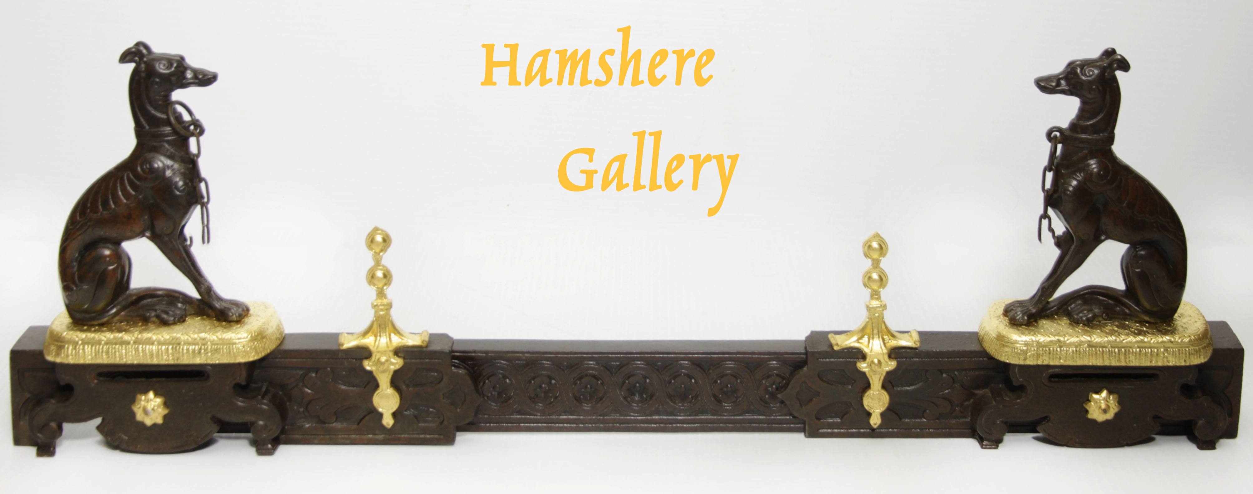 Click to see full size: A French 19th century bronze and ormolu Greyhound / Levrier 'chenets' fireplace fender