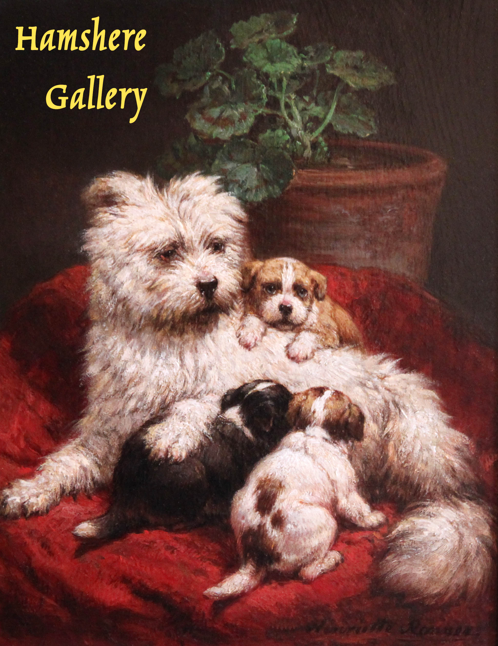 Click to see full size: An oil on panel of a Maltese / Bichon type, mother and puppies by Henriette Ronner-Knip (Dutch, 1821 - 1909)