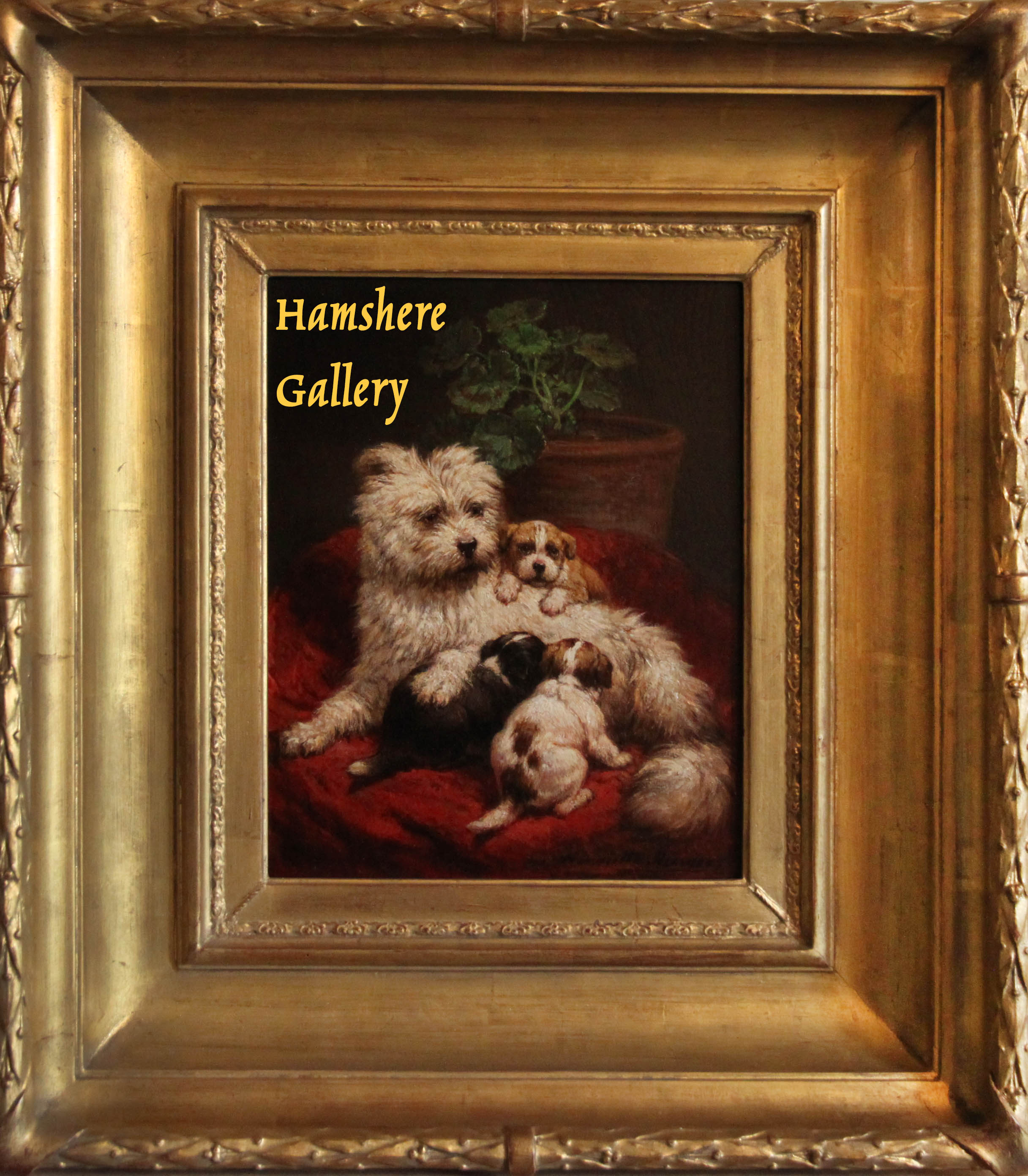 Click for larger image: An oil on panel of a Maltese / Bichon type, mother and puppies by Henriette Ronner-Knip (Dutch, 1821 - 1909) - An oil on panel of a Maltese / Bichon type, mother and puppies by Henriette Ronner-Knip (Dutch, 1821 - 1909)