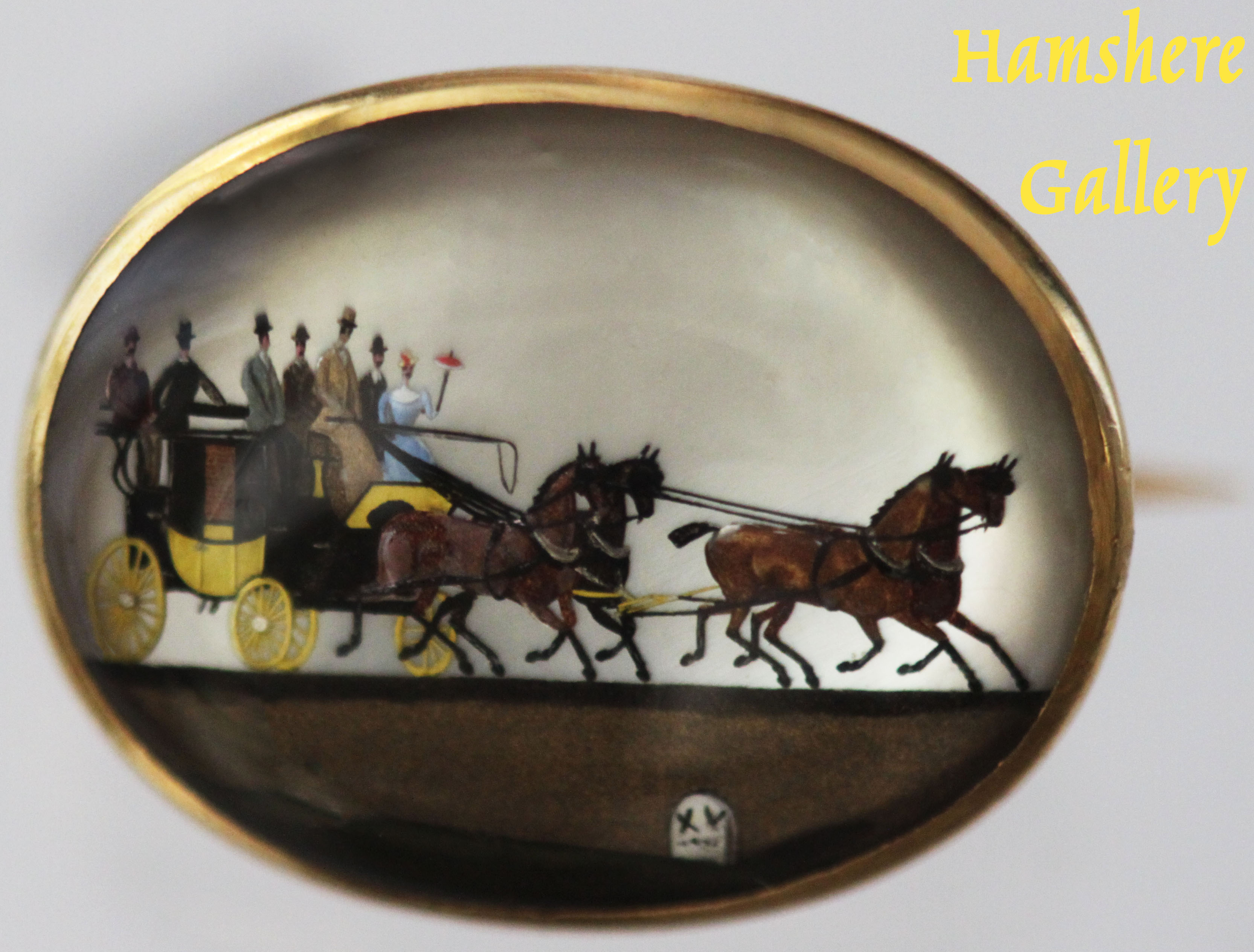 Click to see full size: 18 carat gold set Victorian oval reverse intaglio carriage / coaching / four-in-hand in the livery of Bugatti Yellow- 18 carat gold set Victorian oval reverse intaglio carriage / coaching / four-in-hand in the livery of Bugatti Yellow