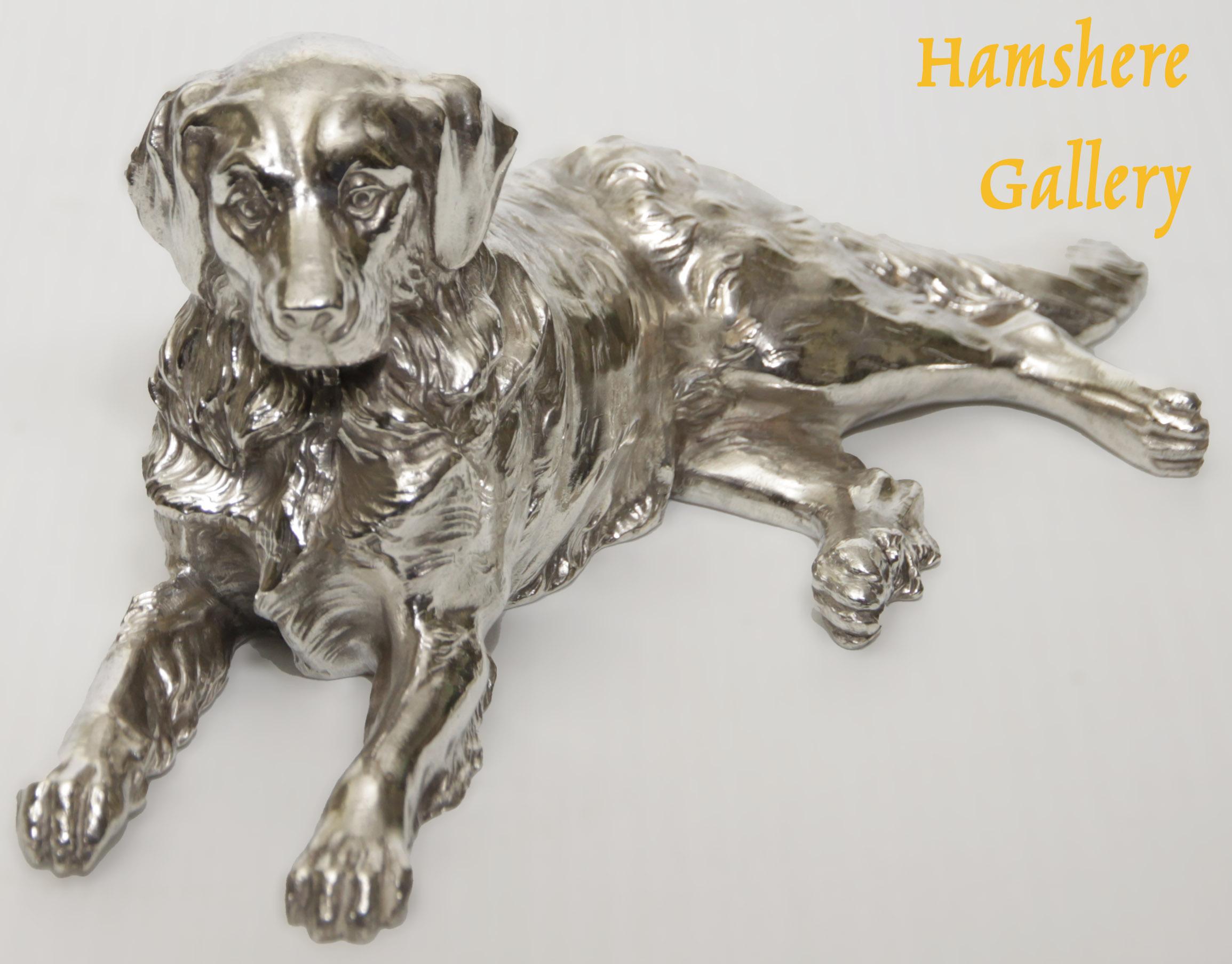 Click to see full size: Kayserzinn Bernese / St. Bernard sculpture by J.P. Kayser & Sohn AG