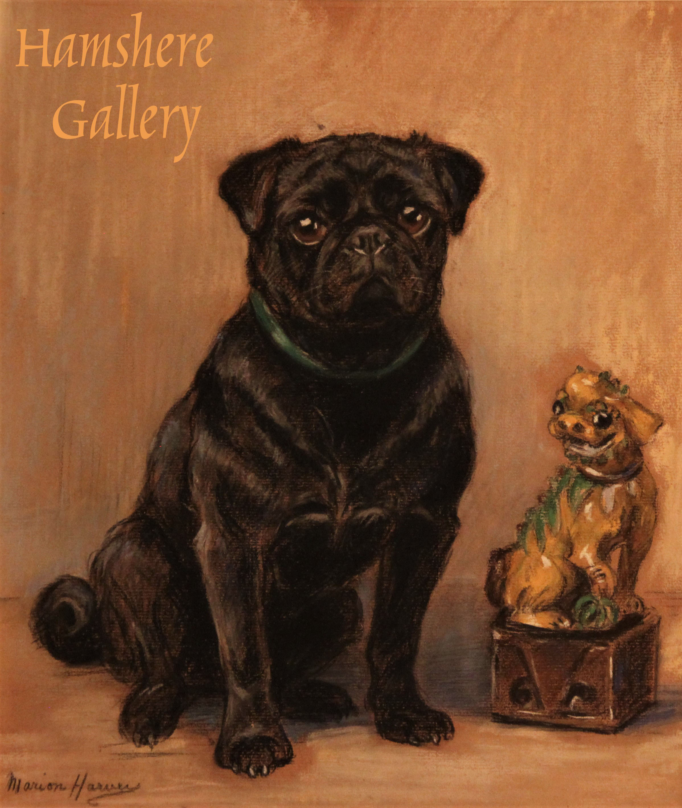 Click to see full size: Pug pastel by Marion Rodger Hamilton Harvey (Scottish, 1886 -1971)