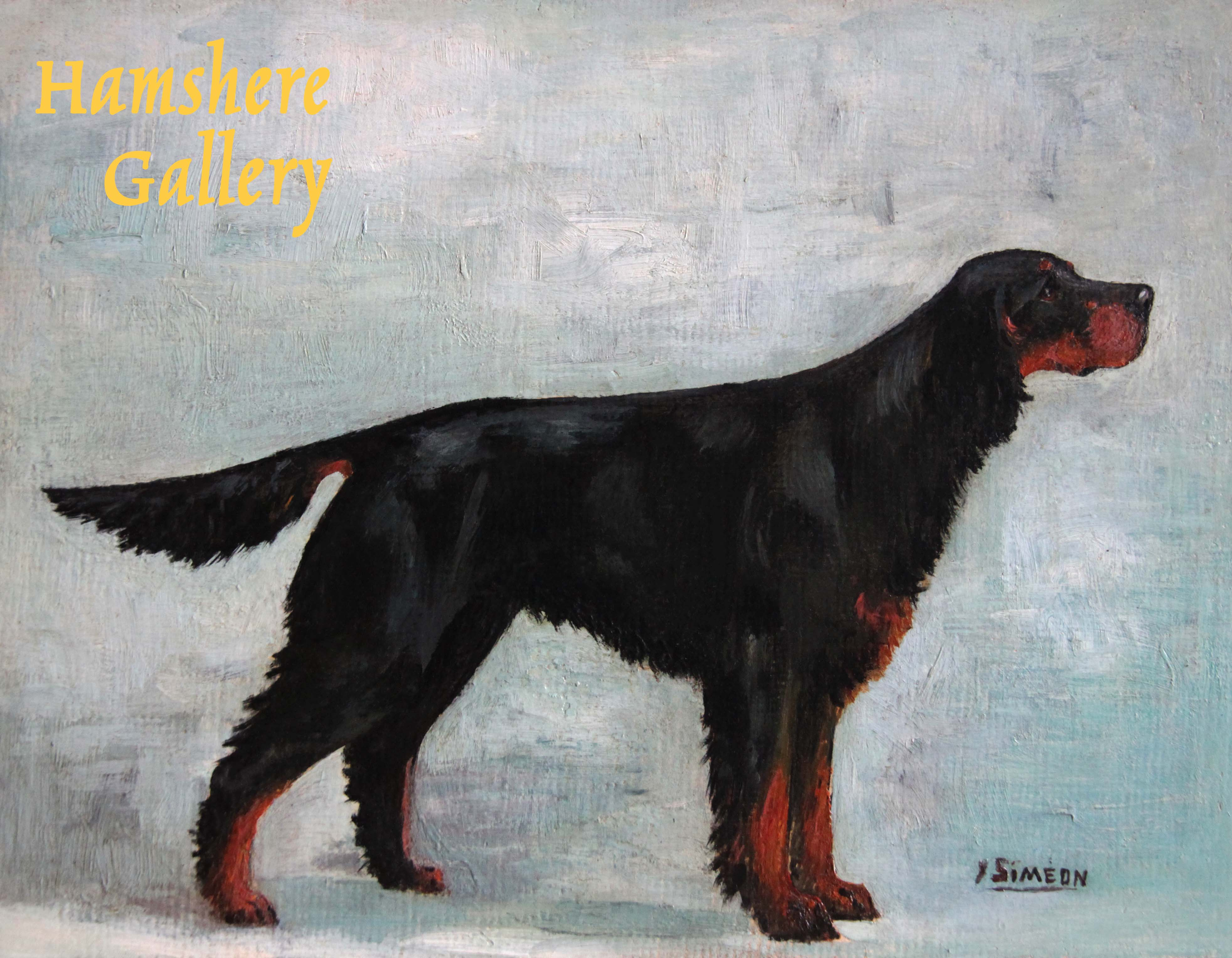Click to see full size: An oil of a Gordon Setter by Yvonne Siméon Lavallart- An oil of a Gordon Setter by Yvonne Siméon Lavallart