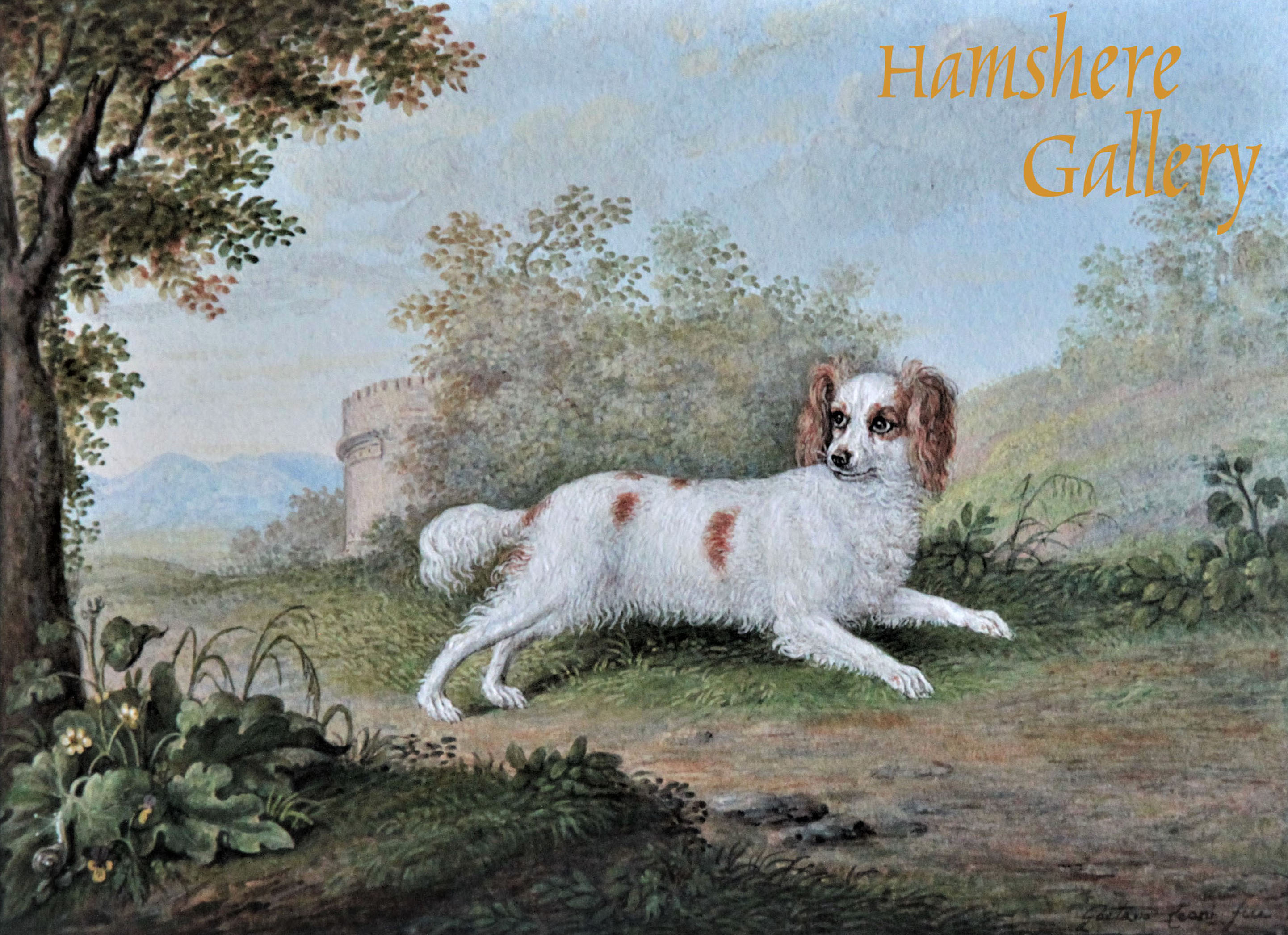 Click to see full size: An 18th century Italian miniaiture watercolour of a Blenhien King Charles Cavalier type Spaniel by Gaetana Leoni