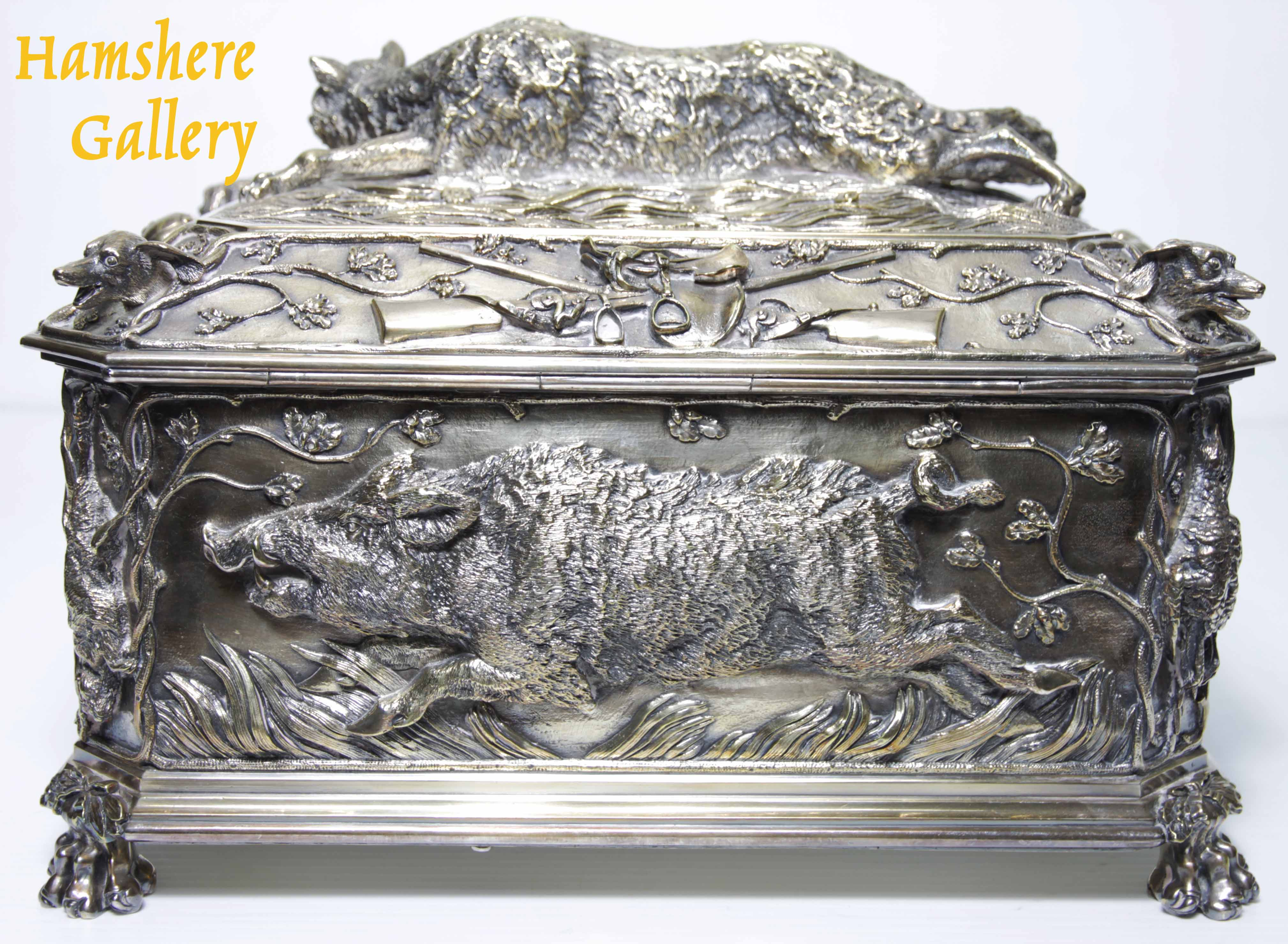 "Click to see full size: A very large, French, 19th century, silver bronze hunting / ""La Chasse"" jewellery box / casket of boar, fox, hound and game bird, attributable to Jules Moigniez (French, 1835-1894)"