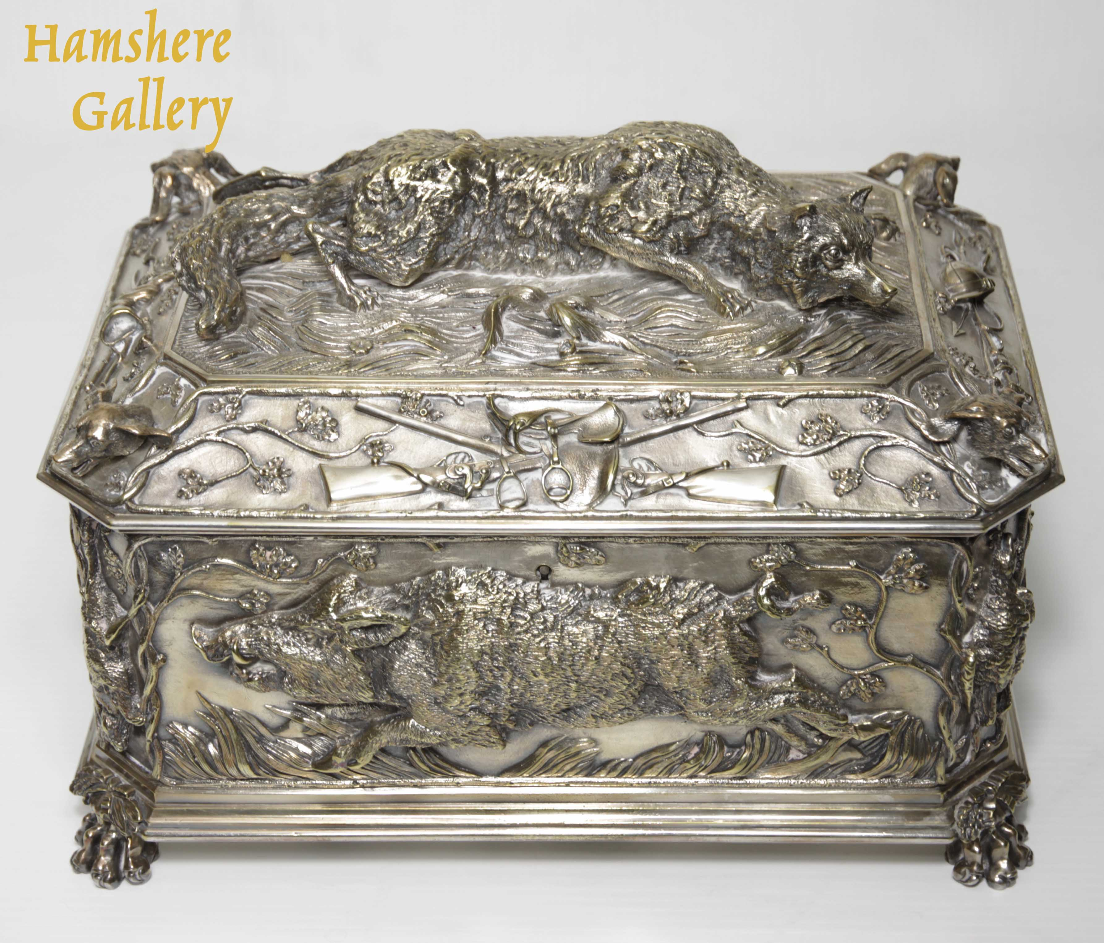"""Click for larger image: A very large, French, 19th century, silver bronze hunting / """"La Chasse"""" jewellery box / casket of boar, fox, hound and game bird, attributable to Jules Moigniez (French, 1835-1894) - A very large, French, 19th century, silver bronze hunting / """"La Chasse"""" jewellery box / casket of boar, fox, hound and game bird, attributable to Jules Moigniez (French, 1835-1894)"""