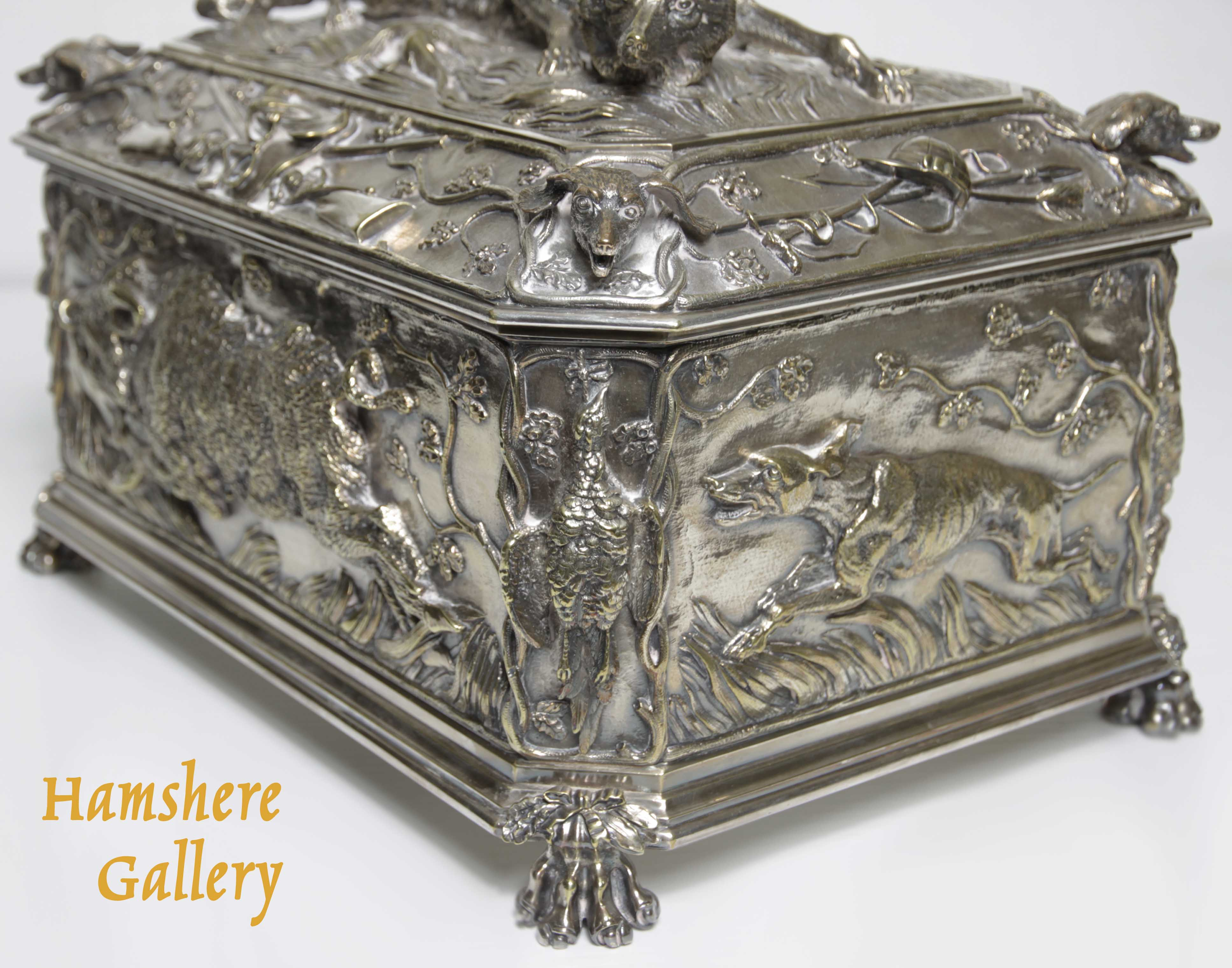 """Click to see full size: A very large, French, 19th century, silver bronze hunting / """"La Chasse"""" jewellery box / casket of boar, fox, hound and game bird, attributable to Jules Moigniez (French, 1835-1894)- A very large, French, 19th century, silver bronze hunting / """"La Chasse"""" jewellery box / casket of boar, fox, hound and game bird, attributable to Jules Moigniez (French, 1835-1894)"""