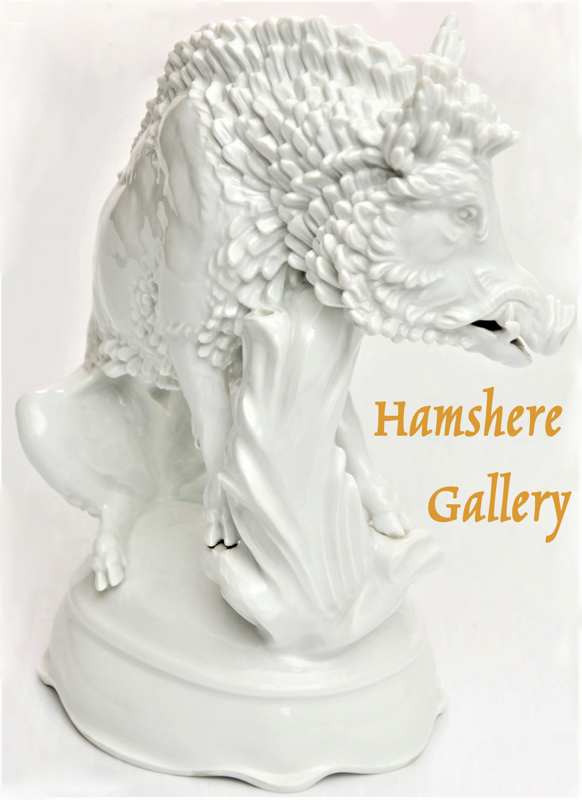 Click to see full size: Early 20th century Meissen boar after Max Esser, (German, 1885 – 1943)- Early 20th century Meissen boar after Max Esser, (German, 1885 – 1943)