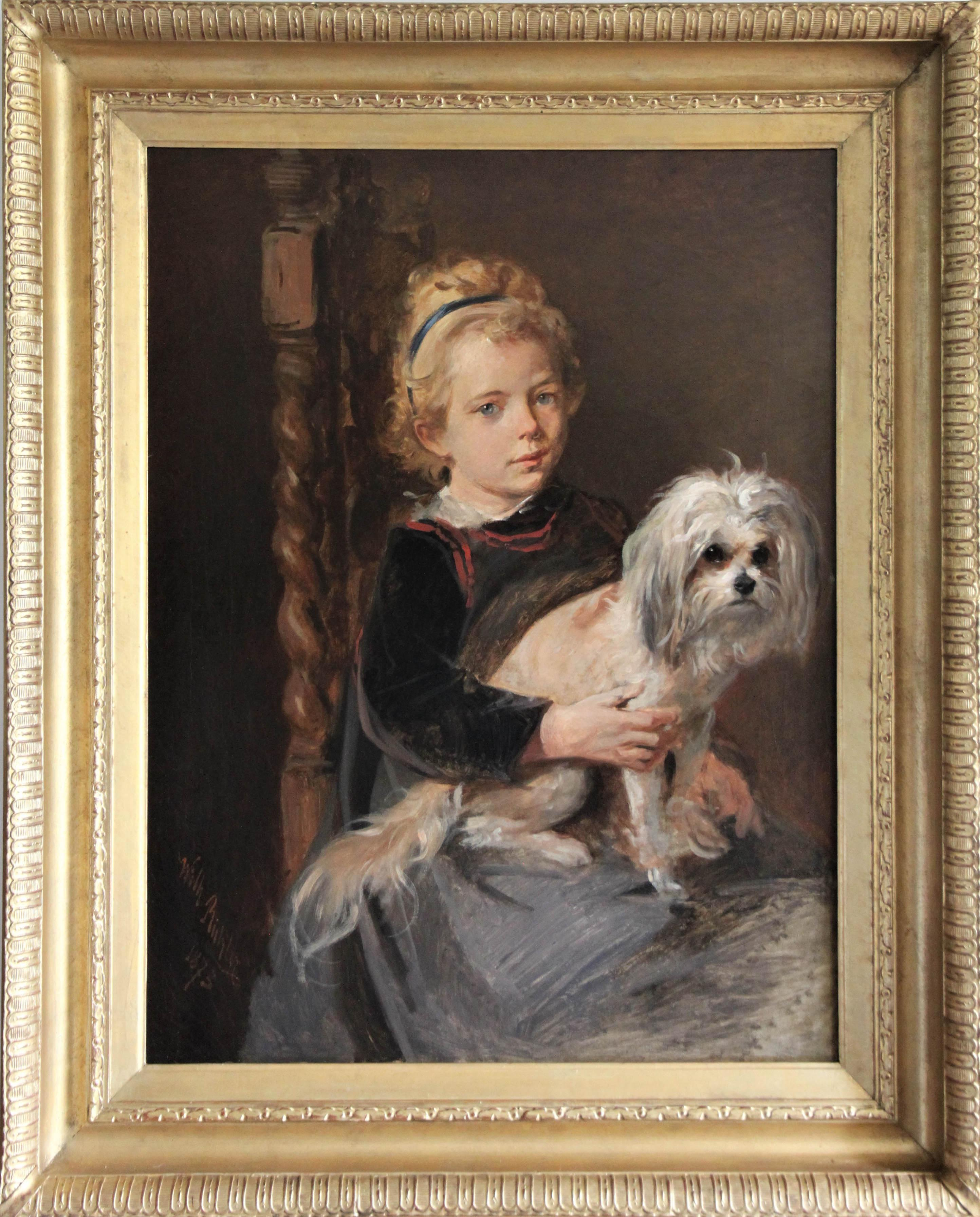 Click for larger image: Girl with Löwchen / Little Lion Dog  by Wilhelm Richter (Austrian, 1824-1892) - Girl with Löwchen / Little Lion Dog  by Wilhelm Richter (Austrian, 1824-1892)