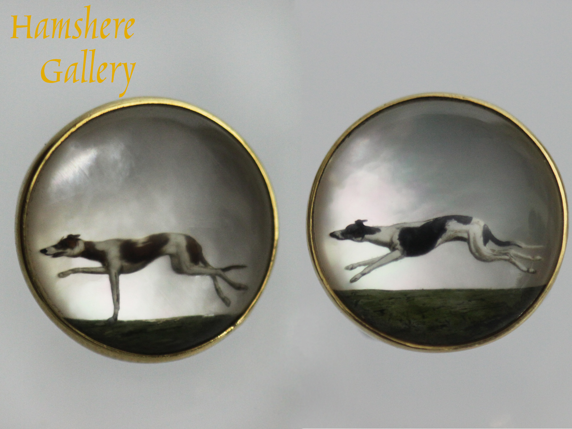 Click for larger image: Pair of 18 carat gold reverse intaglio Greyhound crystal cufflinks - Pair of 18 carat gold reverse intaglio Greyhound crystal cufflinks