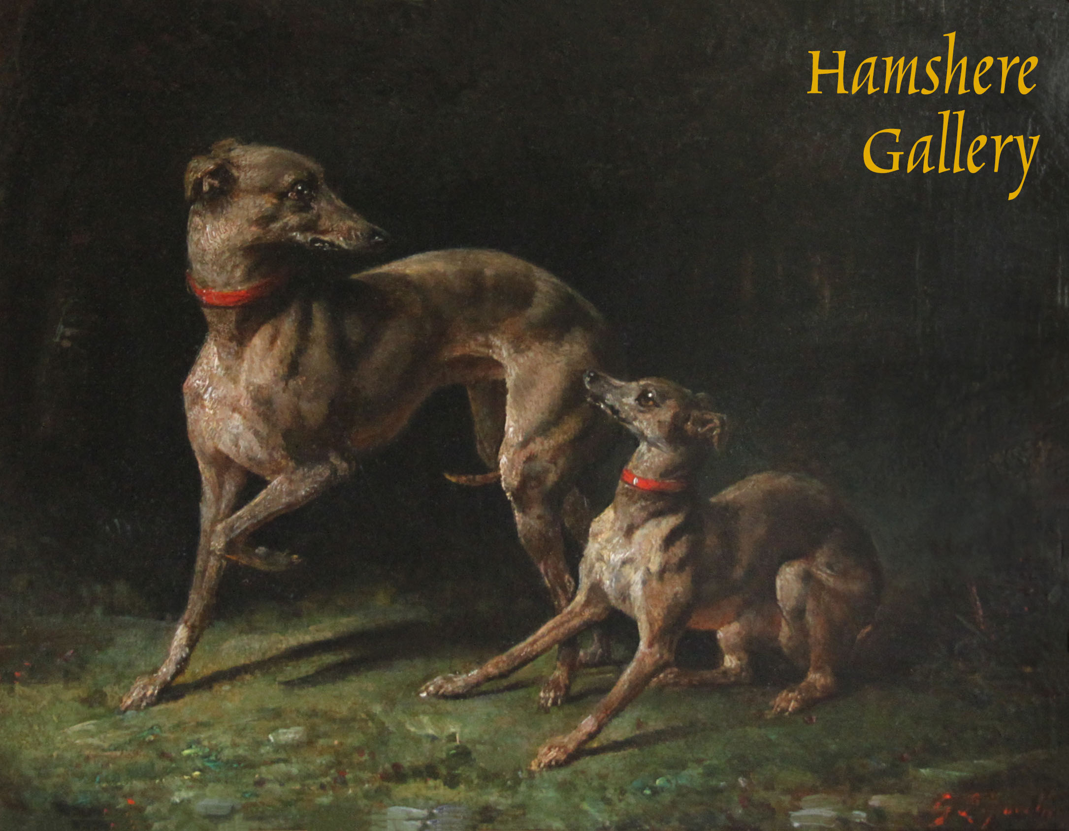Click to see full size: Oil on canvas of a pair of Italian Greyhounds by François Gabriel Guillaume Lepaulle (French, 1804-1886)