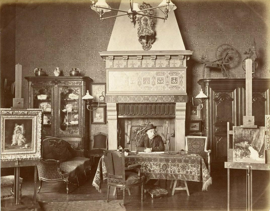 """Click to see full size: Louis-Eugène Lambert (French,1825 - 1900), in his studio by Edmond Bénard (French, 1838-1907). French animal painter, especially cats such that he was known as """"Raphaël des chats""""- Louis-Eugène Lambert (French,1825 - 1900), in his studio by Edmond Bénard (French, 1838-1907). French animal painter, especially cats such that he was known as """"Raphaël des chats"""""""