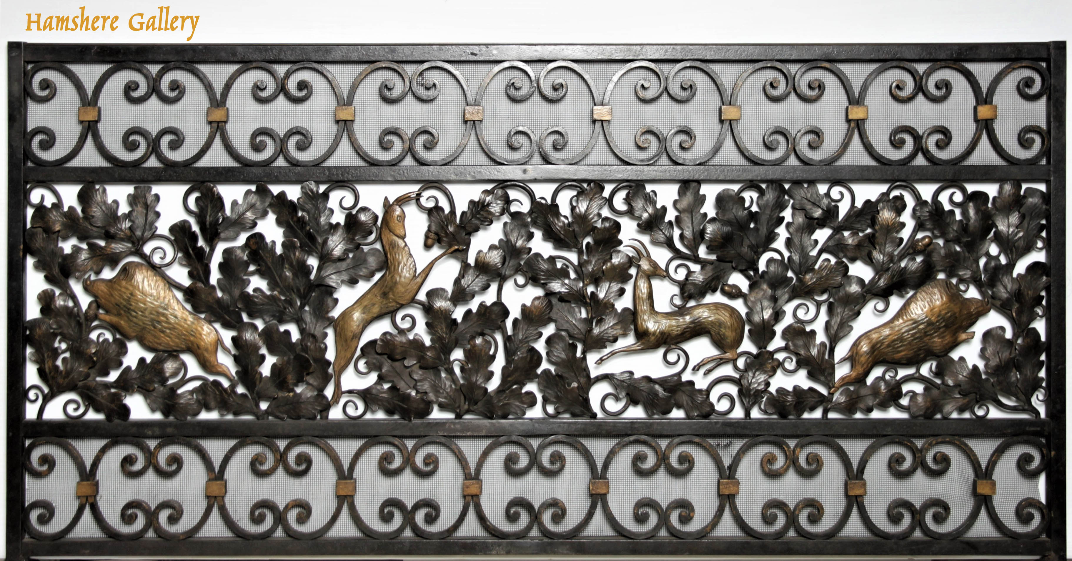 "Click to see full size: ""La Foret"" wrought iron fire screen by Edgar William Brandt (French, 1880 - 1960)"