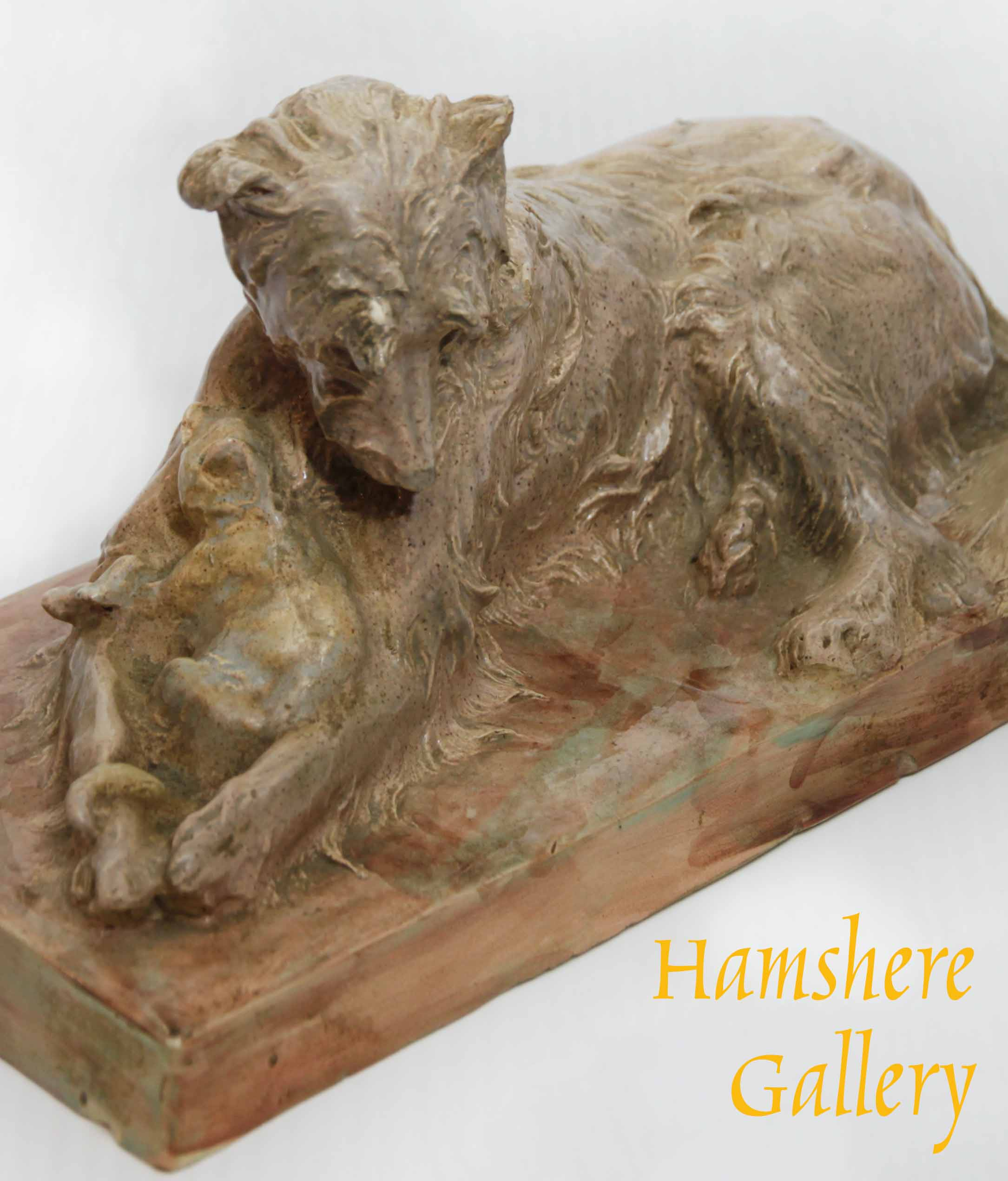 """Click for larger image: """"Les Deux amis"""" Briard and cat, enamel ceramic by Charles Paillet (French, 1871-1937) - """"Les Deux amis"""" Briard and cat, enamel ceramic by Charles Paillet (French, 1871-1937)"""