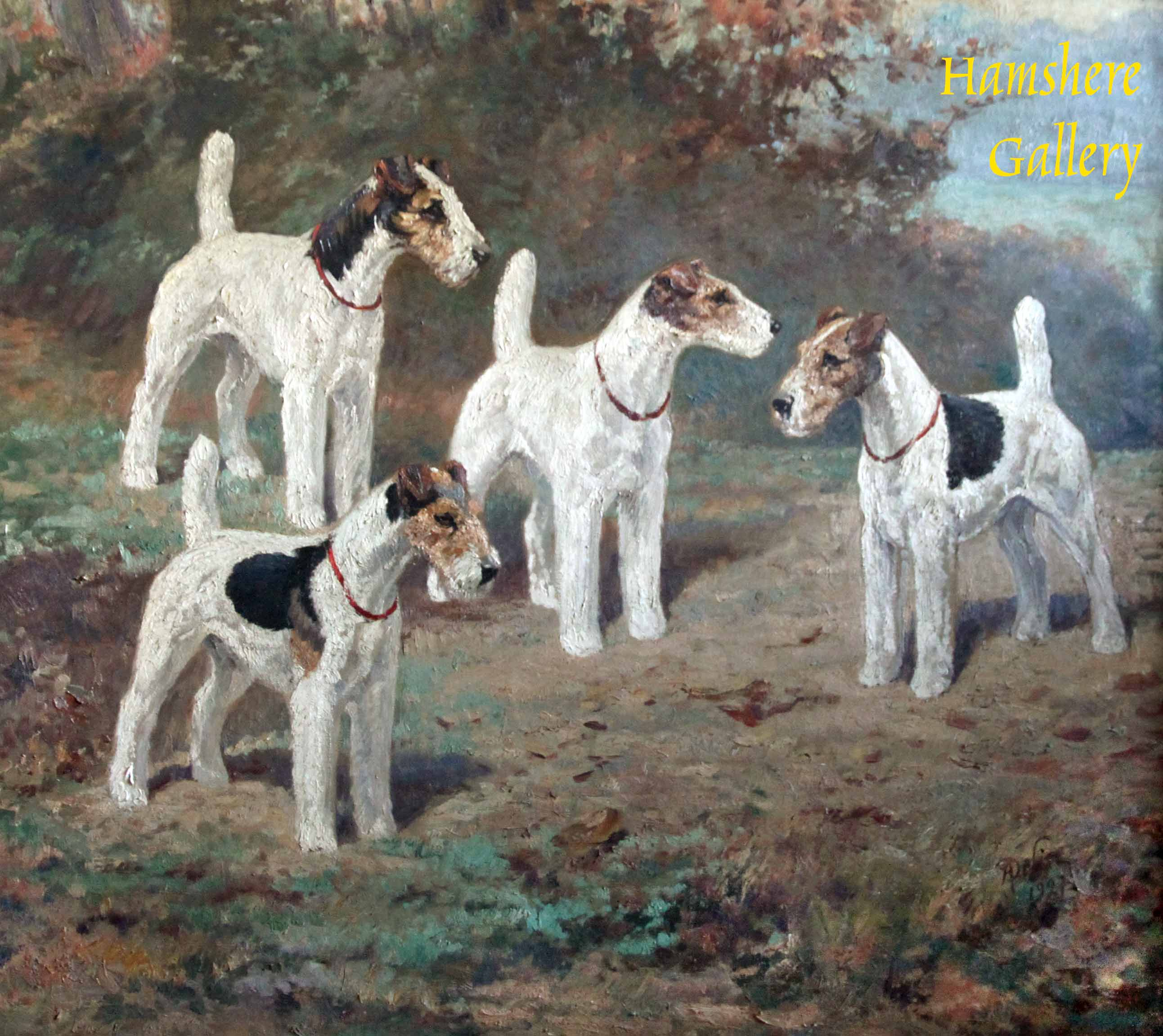 Click to see full size: Wire-haired Fox Terrier Scottish Terrier oil by René Philippe Delin (Belgium, 1877-1961)