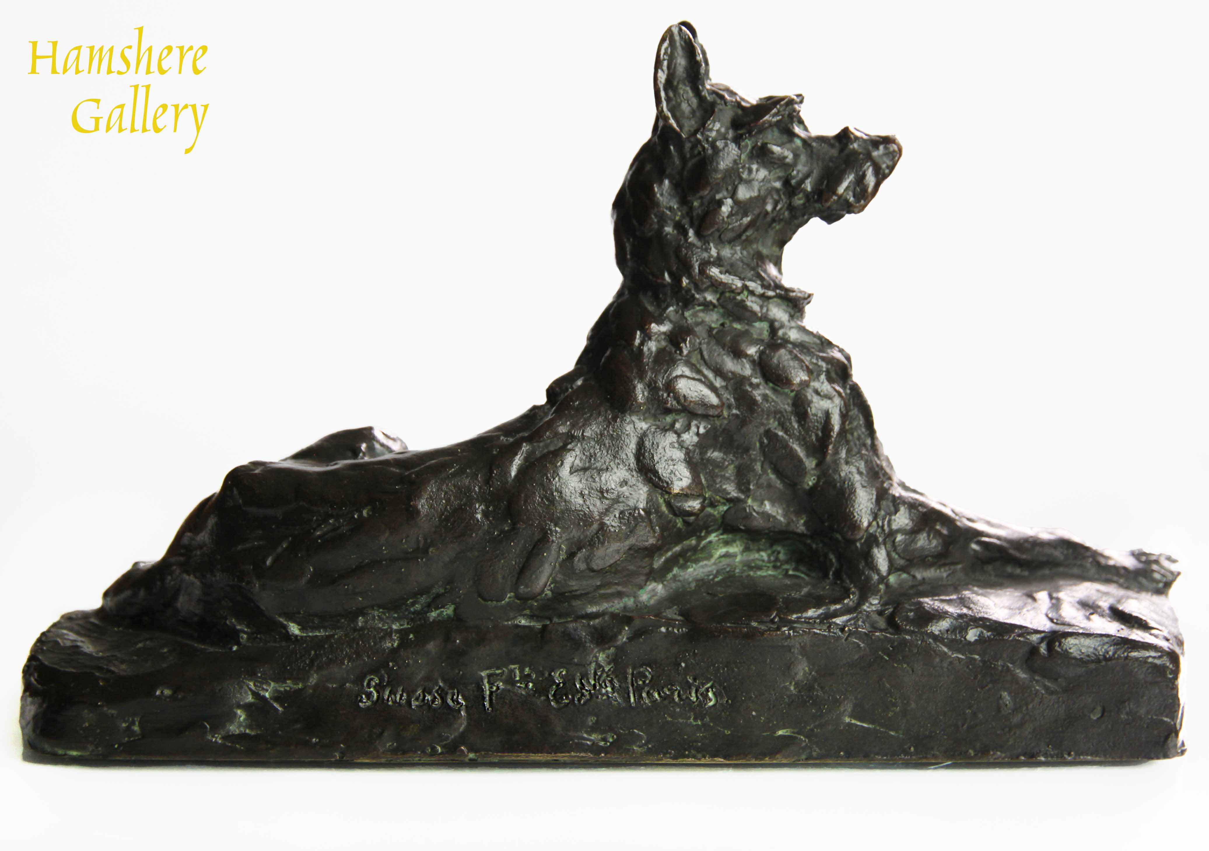 Click to see full size: Bronze recumbent Briard by Maximilien-Louis Fiot (French, 1886 - 1953).- Bronze recumbent Briard by Maximilien-Louis Fiot (French, 1886 - 1953).