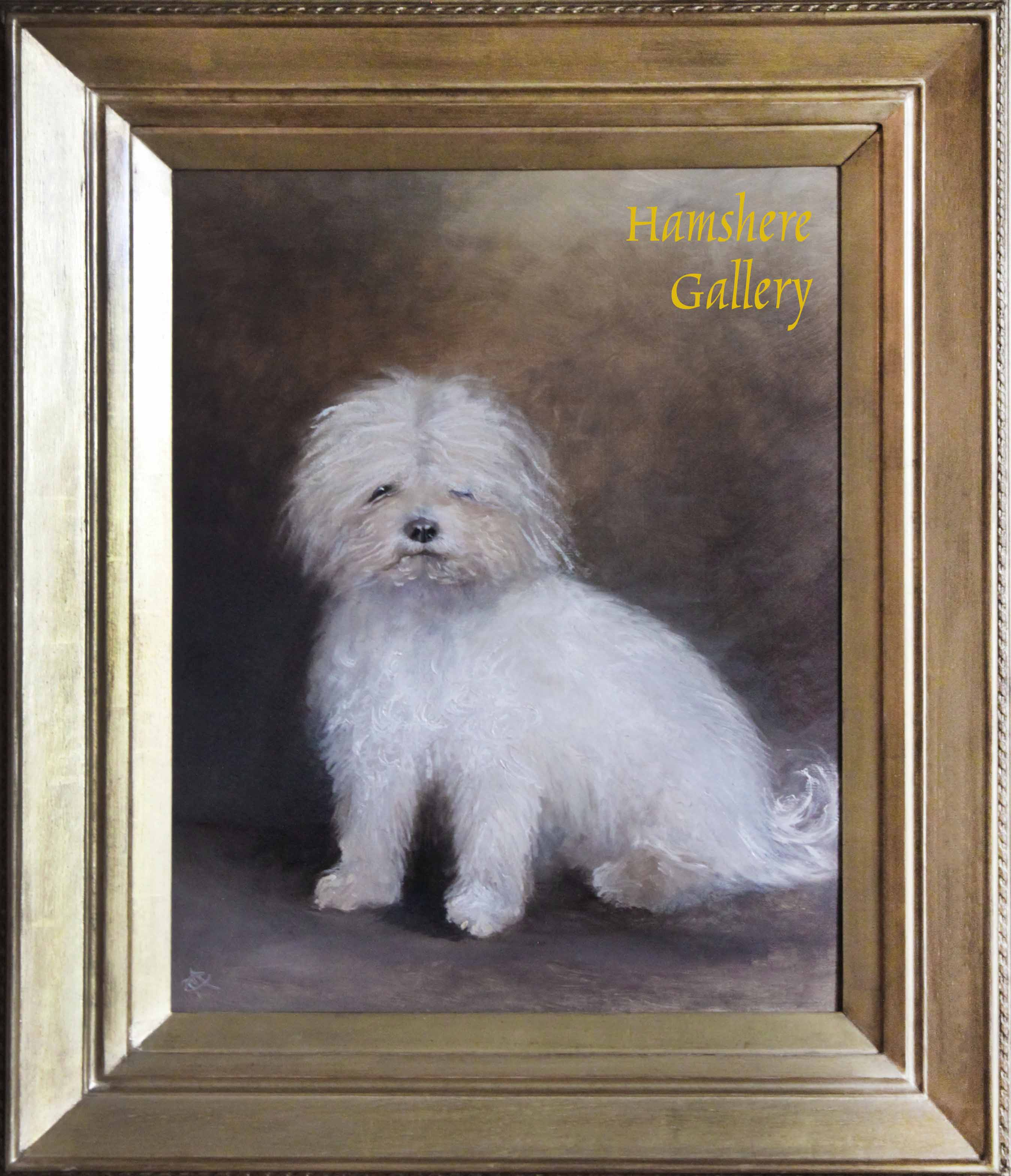 """Click to see full size: """"Bubbley"""" Oil of a Bichon by Horatio Henry Couldery (English, 1832 - 1893)- """"Bubbley"""" Oil of a Bichon by Horatio Henry Couldery (English, 1832 - 1893)"""