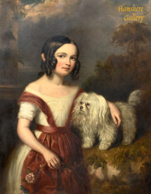 Click to see full size: An oil of girl and Maltese Terrier by William Richard Waters (British, 1813-1880)