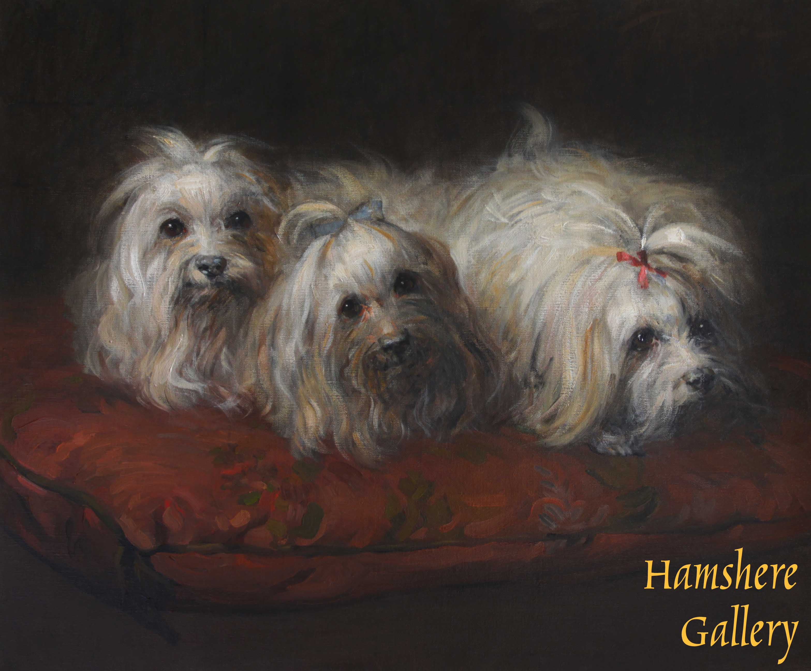 Click to see full size: French 19th century oil of three Maltese Terriers recumbent upon a sumptuous cushion