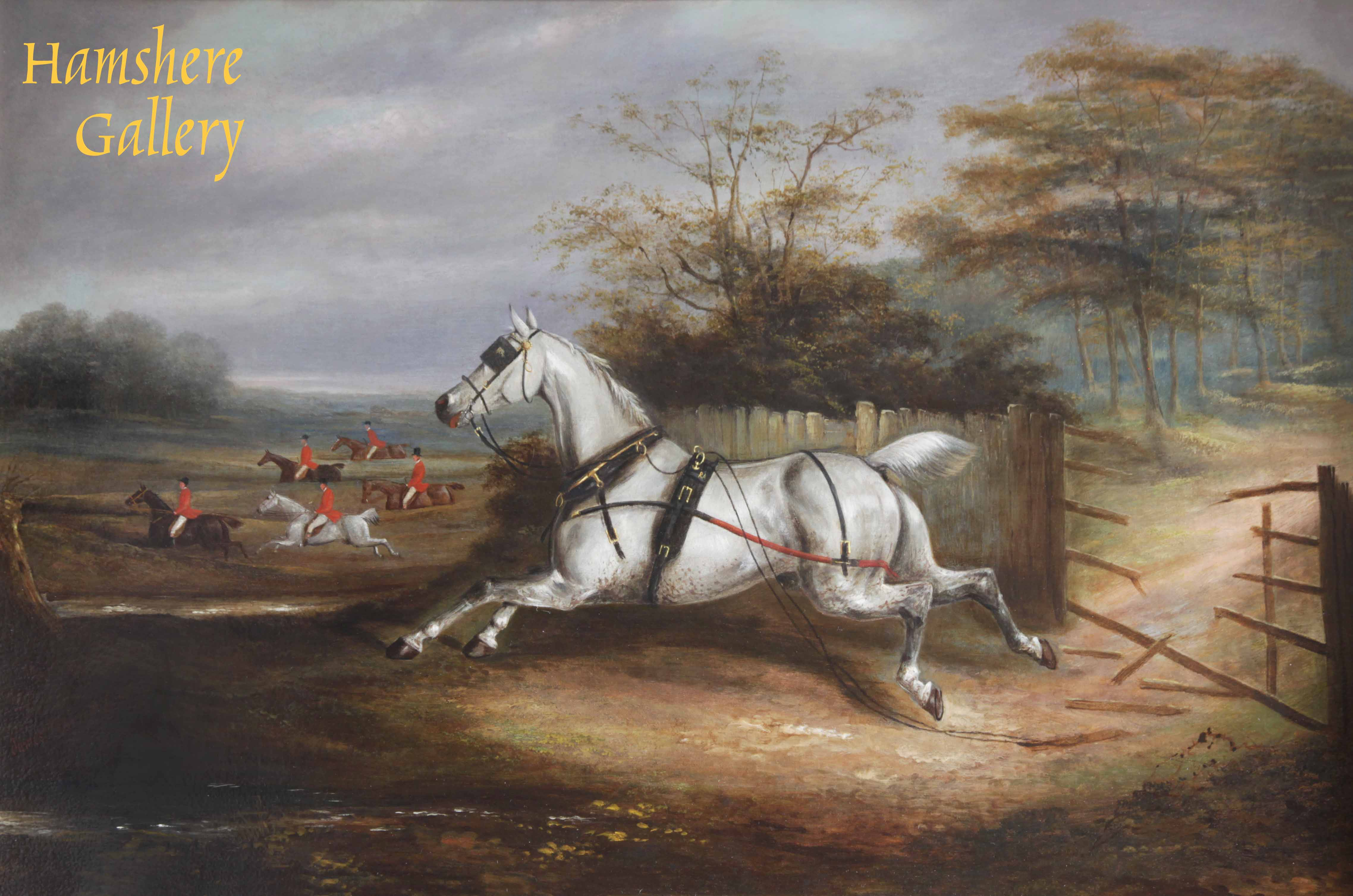 Click to see full size: A runaway Hackney Carriage horse, oil, by James Clark (fl.1858-1909)- A runaway Hackney Carriage horse, oil, by James Clark (fl.1858-1909)