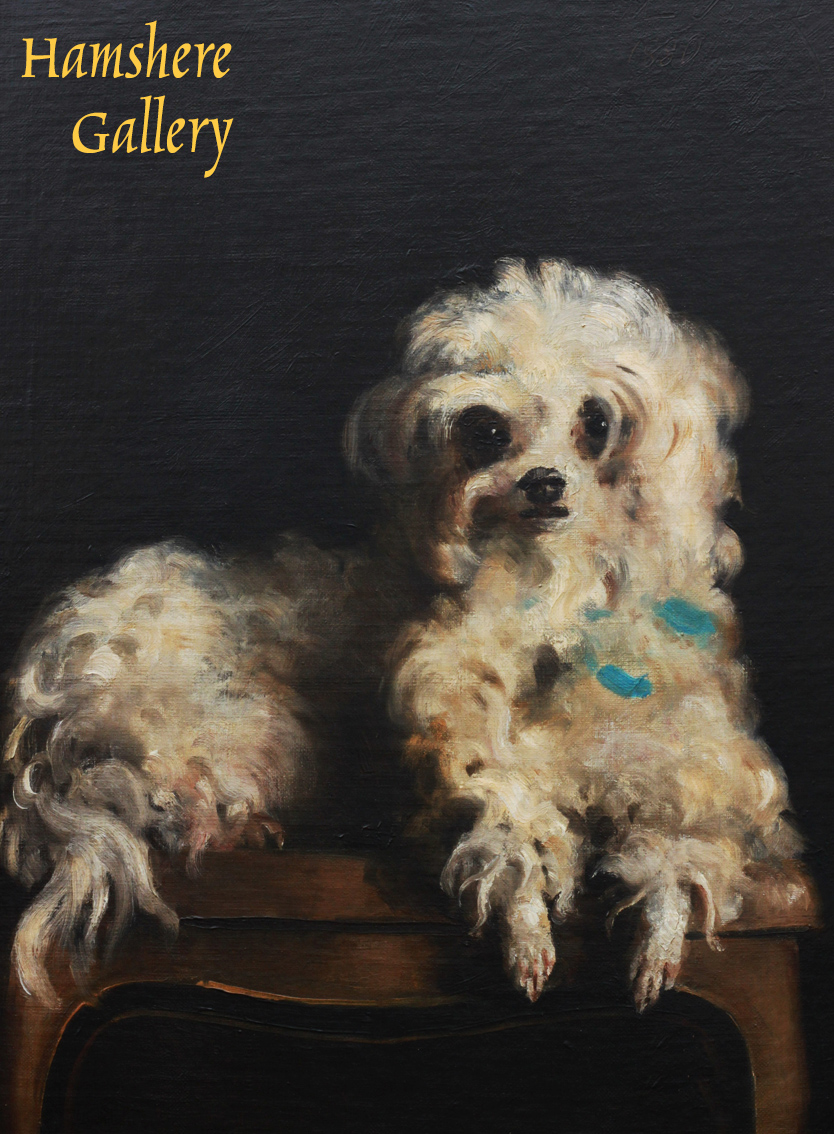 Click to see full size: An oil on canvas of �Tom, a Maltese / Bichon type by Franck Antoine Bail (French 1858 - 1924)- An oil on canvas of Tom, a Maltese / Bichon type by Franck Antoine Bail (French 1858 - 1924)