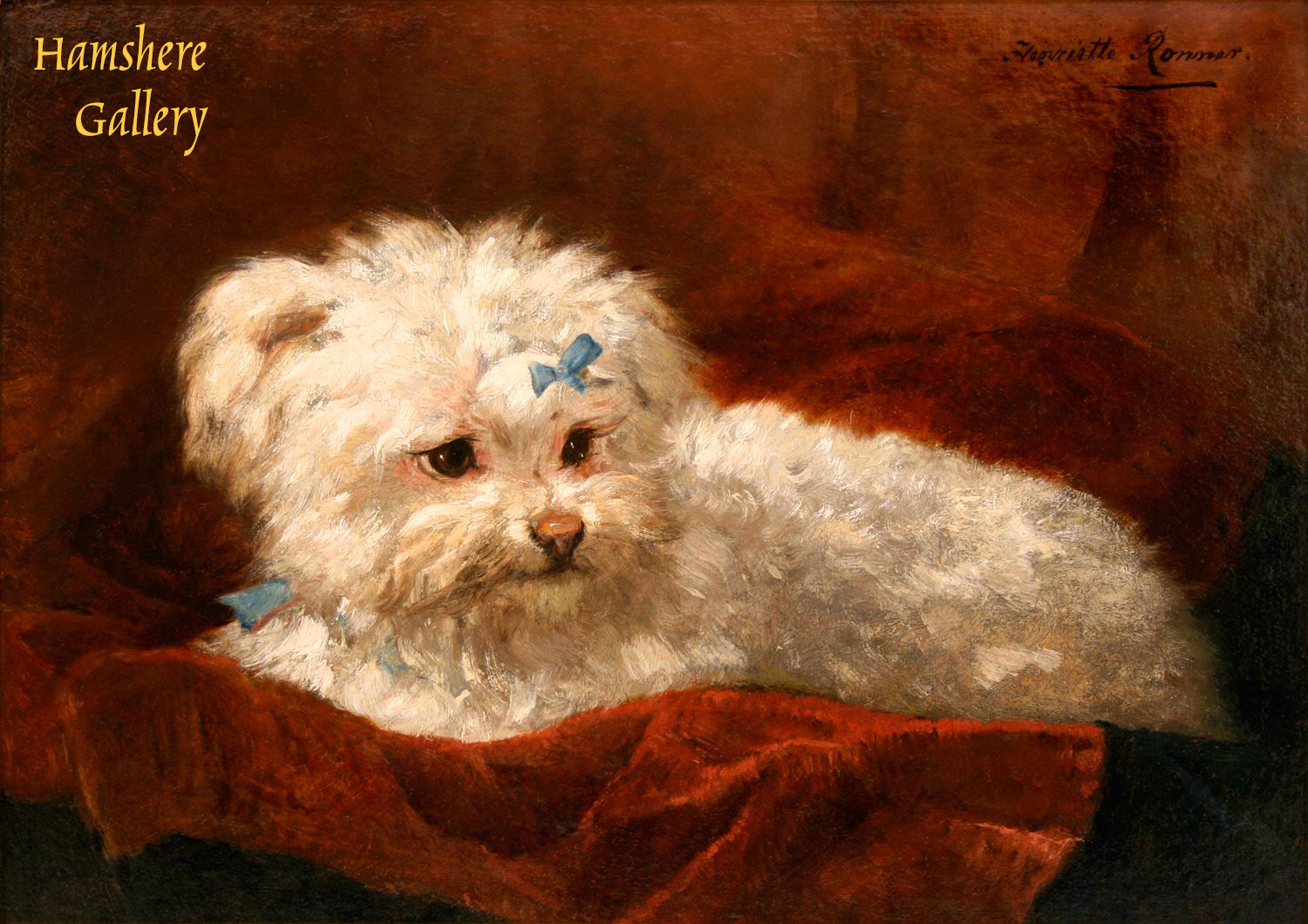 Click to see full size: Maltese oil painting by Henrieta Ronner-Knip (1821-1909)