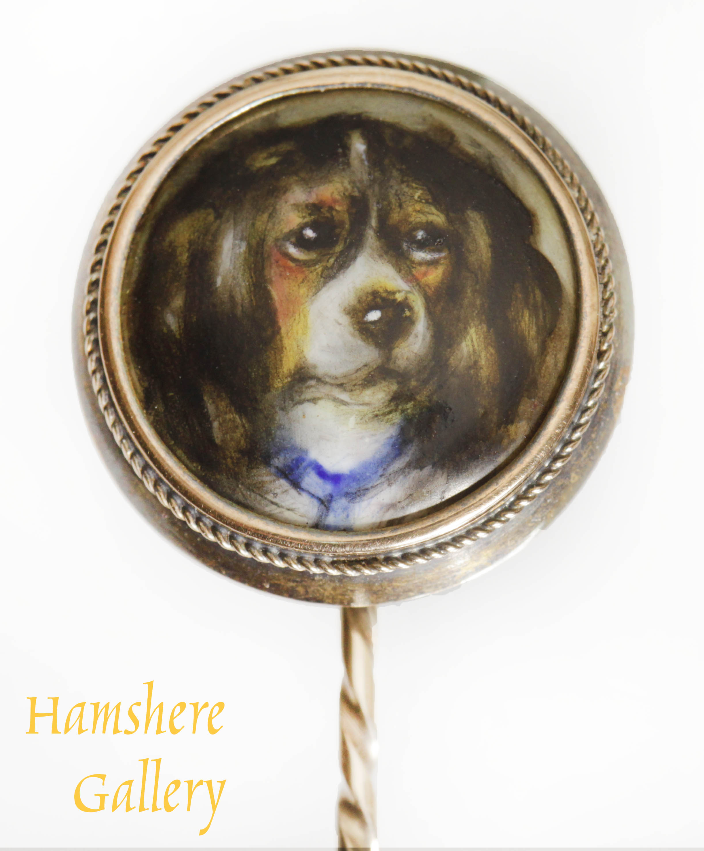 Click to see full size: Kings Charles Cavalier Tricolor Spaniel enamel gold stick pin by William Essex (English, 1784-1869)