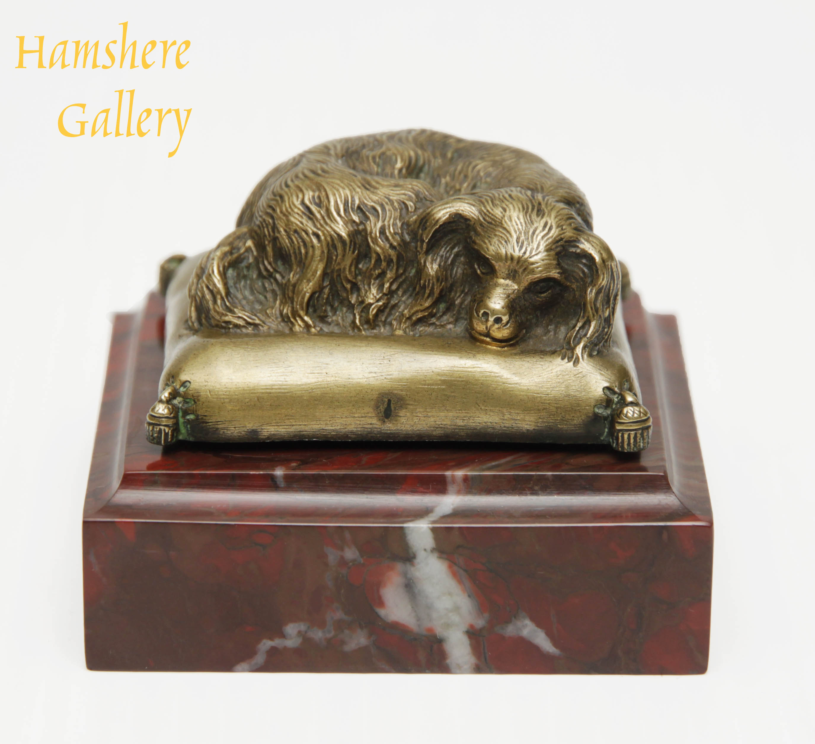 Click for larger image: A French, 19th century, Napoleon III, bronze presse-papier King Charles Cavalier Spaniel on a marble base - A French, 19th century, Napoleon III, bronze presse-papier King Charles Cavalier Spaniel on a marble base