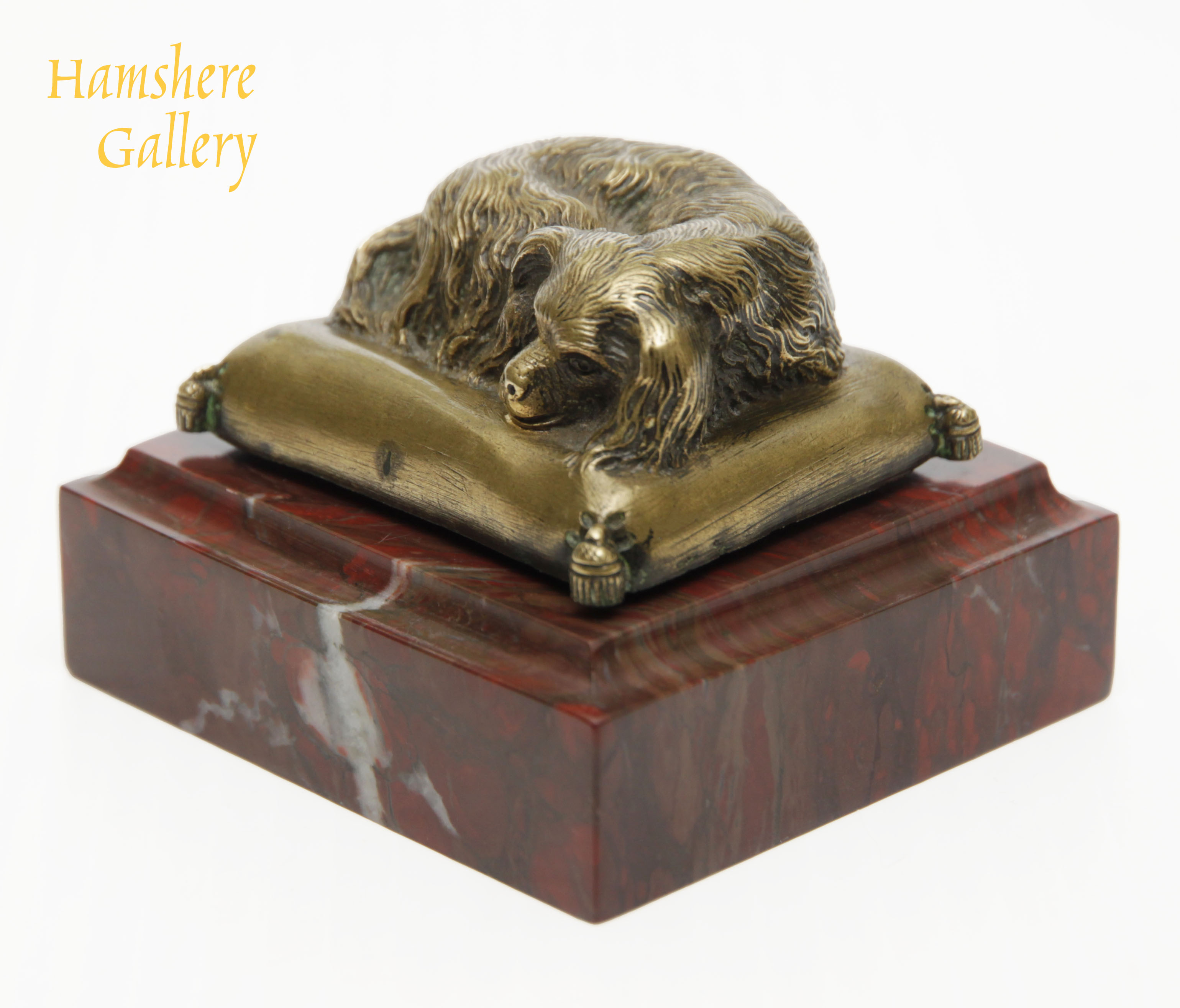 Click to see full size: A French, 19th century, Napoleon III, bronze presse-papier King Charles Cavalier Spaniel on a marble base- A French, 19th century, Napoleon III, bronze presse-papier King Charles Cavalier Spaniel on a marble base