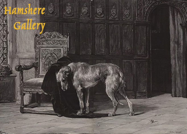 "Click to see full size: ""Faithful to the Last"" / ""The Empty Chair"", a Scottish Deerhound engraving after Briton Riviere, RA (British, 1840-1920)"