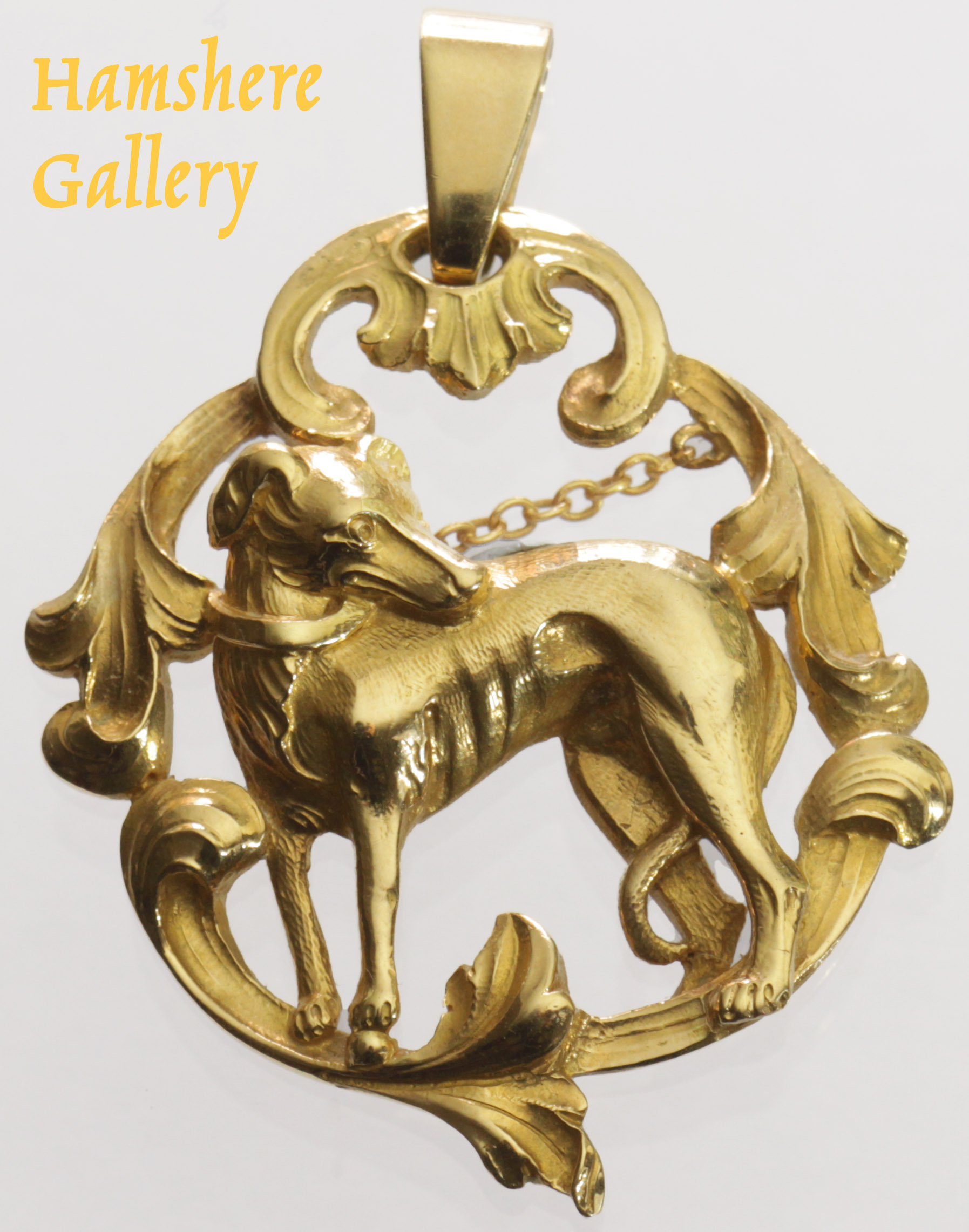 Click to see full size: Circa 1910, French 18 carat gold Levrier / Greyhound / Whippet pendant
