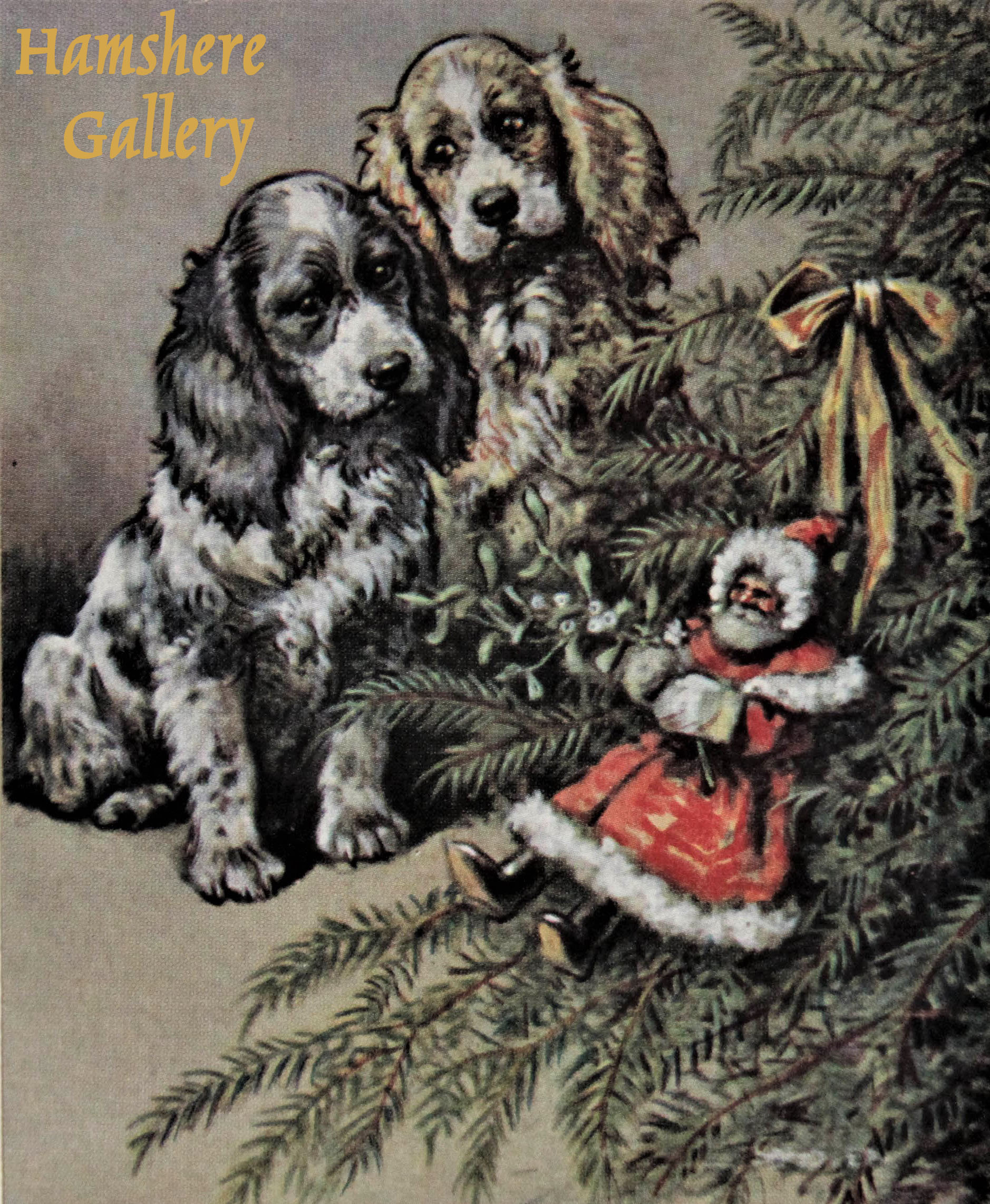 """Click to see full size: """"Can You Eat It"""", a lithograph Christmas card of a pair of Cocker Spaniels design by Christopher Gifford Ambler (English, 1886-1965) for for """"Samuel A. C. Todd"""""""