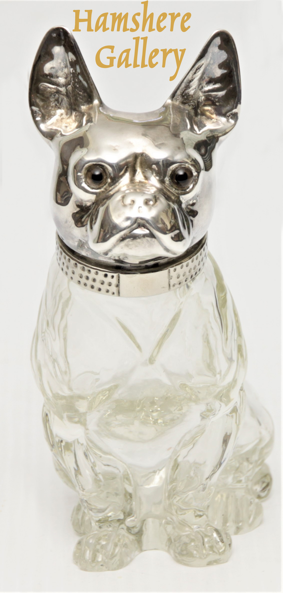 Click to see full size: Circa 1910, Austrian rock crystal French Bulldog decanter
