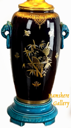 Click for larger image: Rare Minton Majolica Japanese aesthetic movement, elephant vase, with elephant handles, circa 1890. - Rare Minton Majolica Japanese aesthetic movement, elephant vase, with elephant handles, circa 1890.