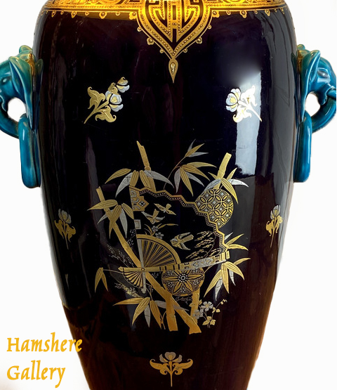 Click to see full size: Rare Minton Majolica Japanese aesthetic movement, elephant vase, with elephant handles, circa 1890.