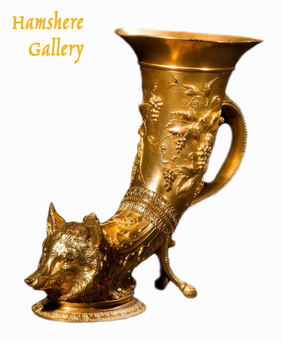 Click for larger image: 19th century, Rhyton, fox head bronze vase by Maison F Barbedienne (French, 1810 – 1892) for Louis-Constant Sévin (French, 1821-1888) - 19th century, Rhyton, fox head bronze vase by Maison F Barbedienne (French, 1810 – 1892) for Louis-Constant Sévin (French, 1821-1888)