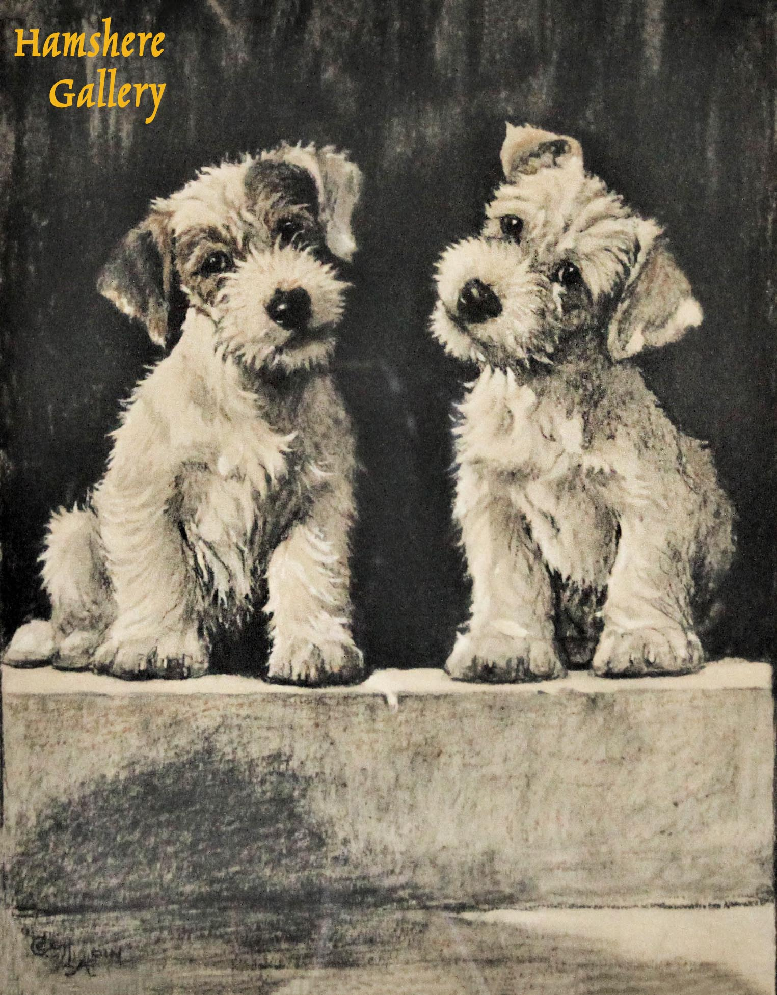 """Click to see full size: """"We Two"""" Sealyham Terrier coloured lithograph by Cecil Charles Windsor Aldin RBA (English, 1870-1935)"""
