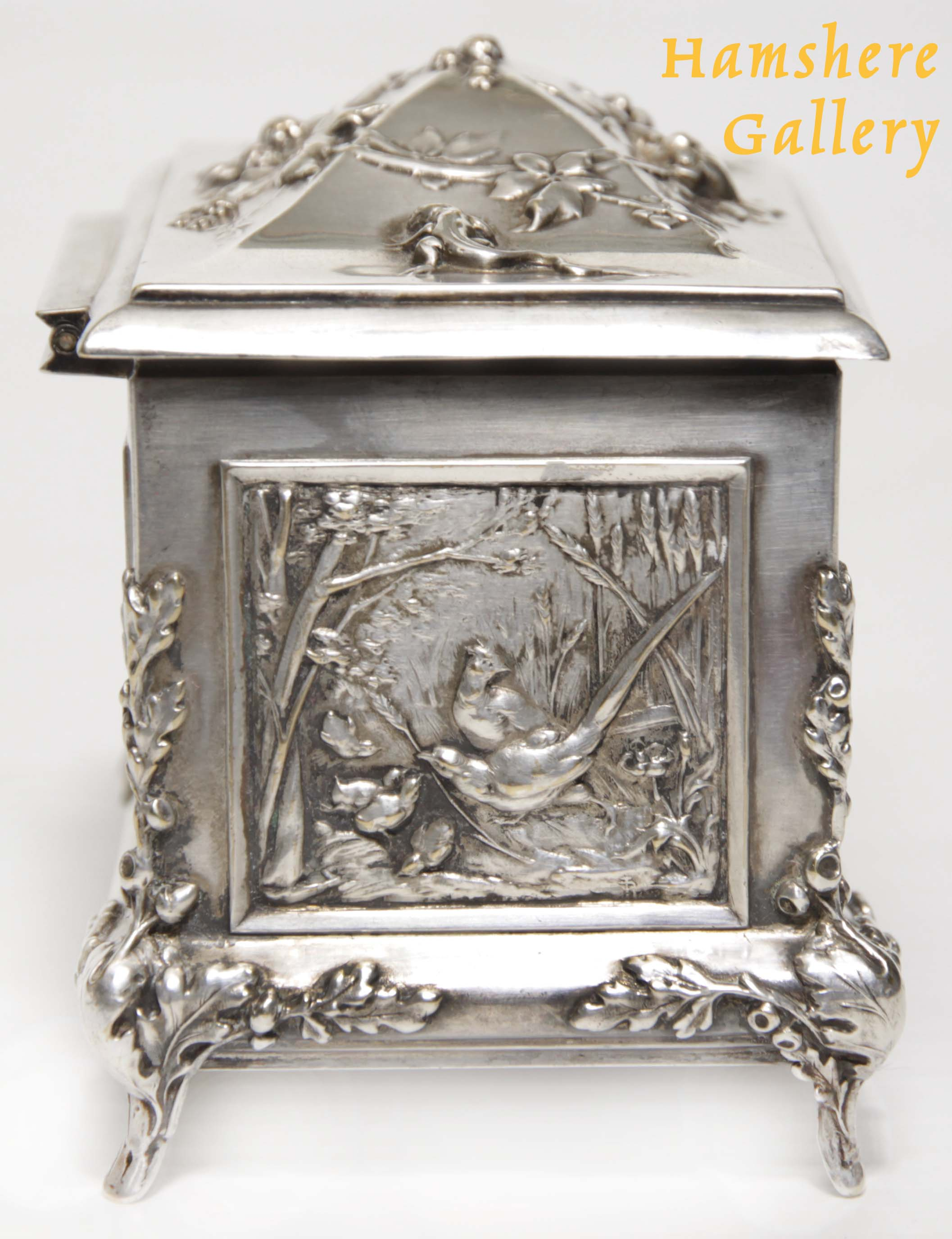 Click for larger image: A silver hunting / La Chasse jewellery box by Louis Armand Rault (French, 1847-1903) - A silver hunting / La Chasse jewellery box by Louis Armand Rault (French, 1847-1903)