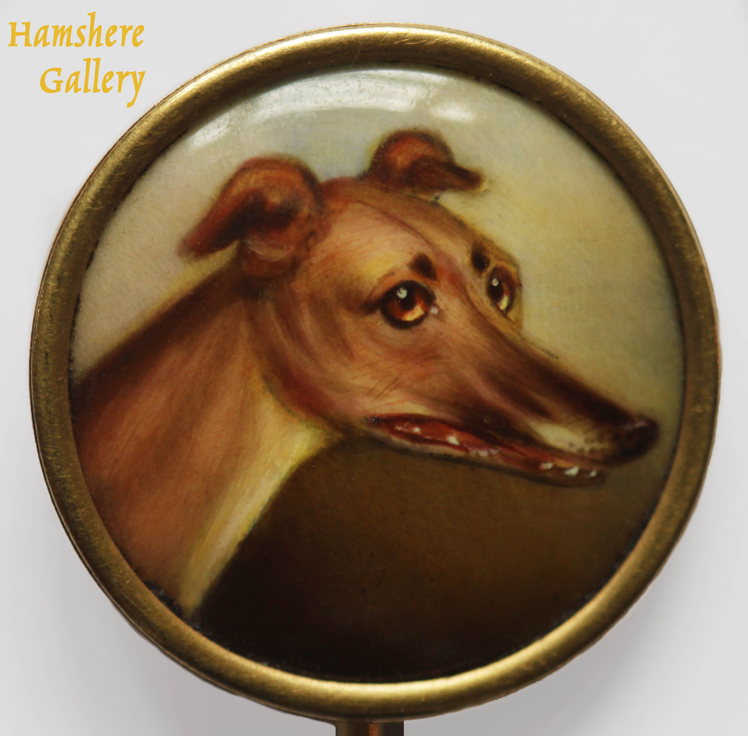 Click for larger image: Gold mounted enamel stick pin of a champion Greyhound by James (John) William Bailey (English, 1831-1914) - Gold mounted enamel stick pin of a champion Greyhound by James (John) William Bailey (English, 1831-1914)