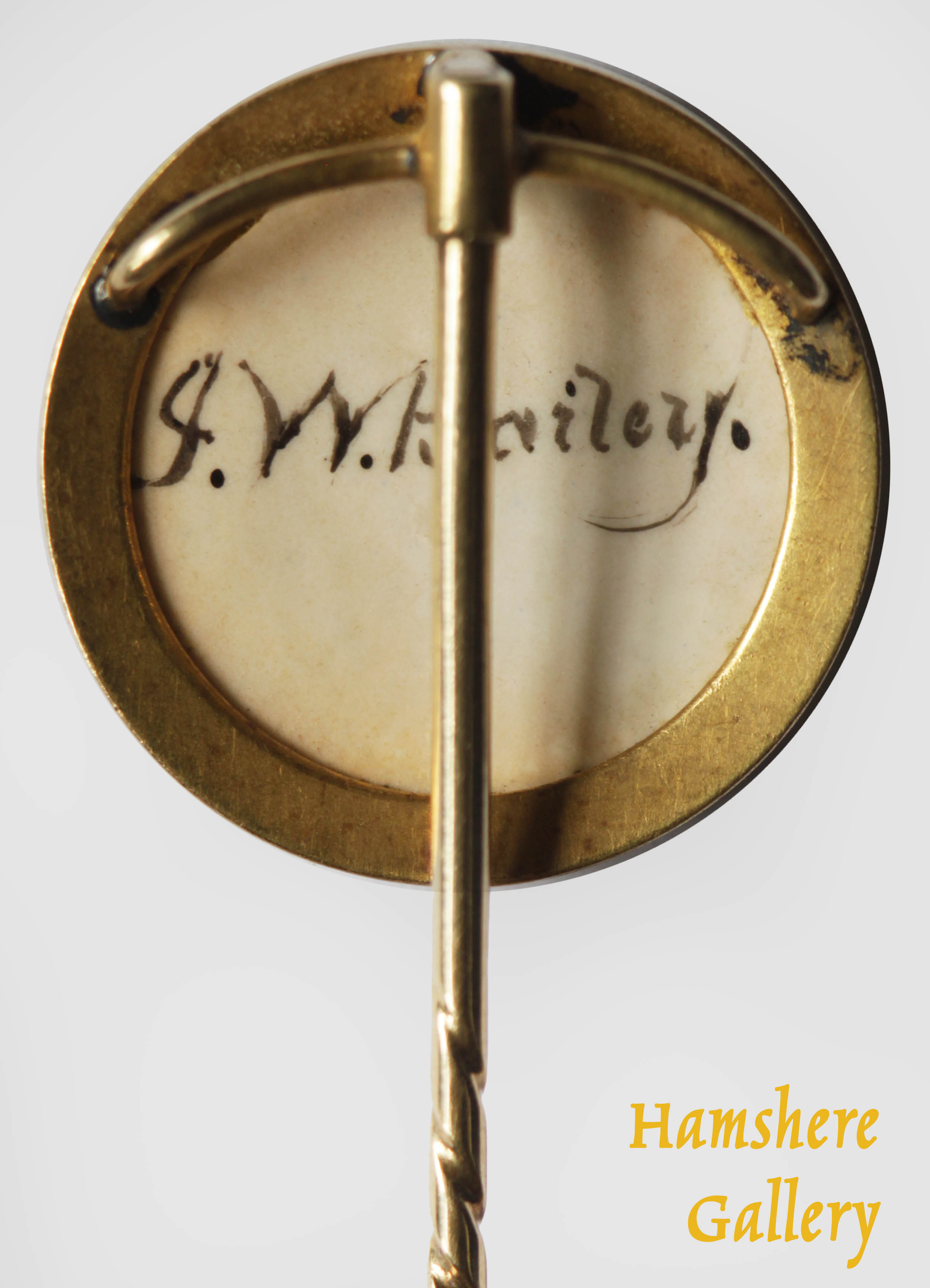 Click to see full size: Gold mounted enamel stick pin of a champion Greyhound by James (John) William Bailey (English, 1831-1914)- Gold mounted enamel stick pin of a champion Greyhound by James (John) William Bailey (English, 1831-1914)
